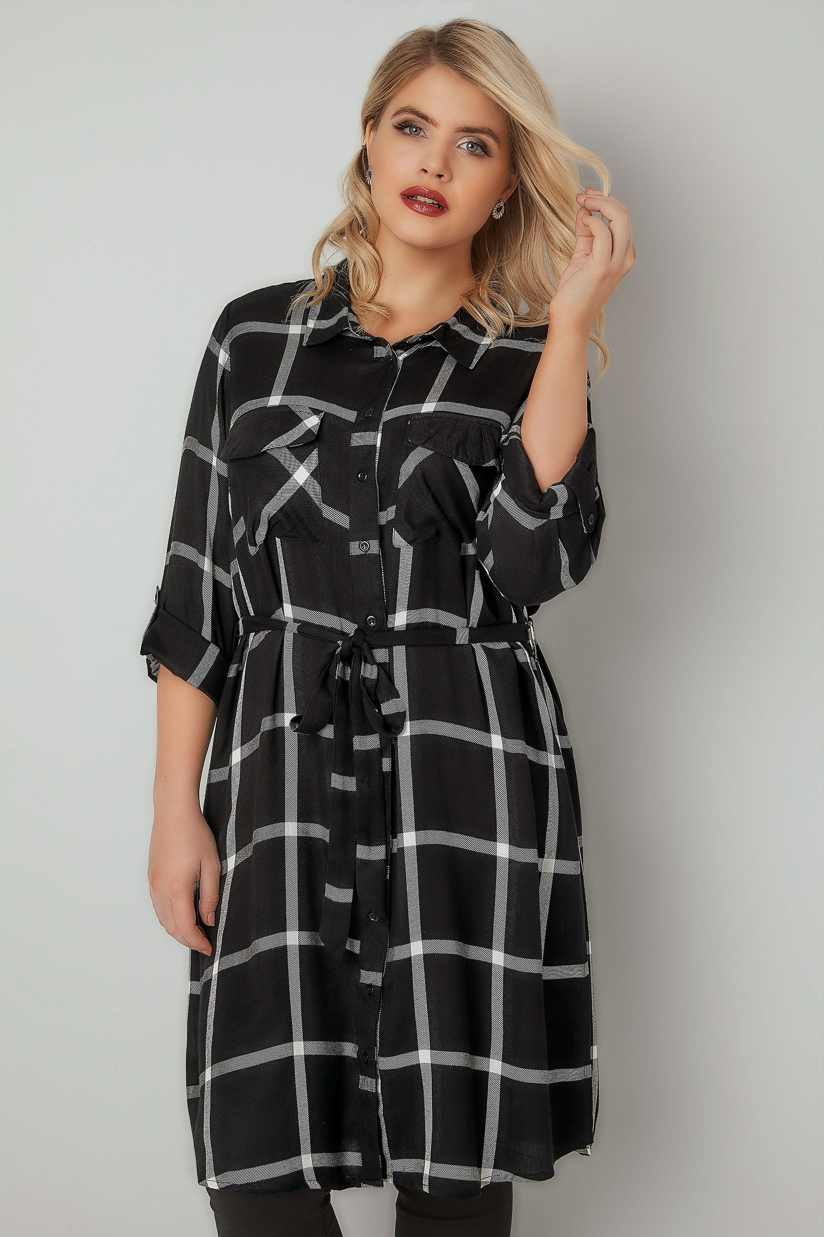 7f0ee2e0291bc1 Black & White Checked Longline Shirt With Tie Waist, Plus size 16 to 36