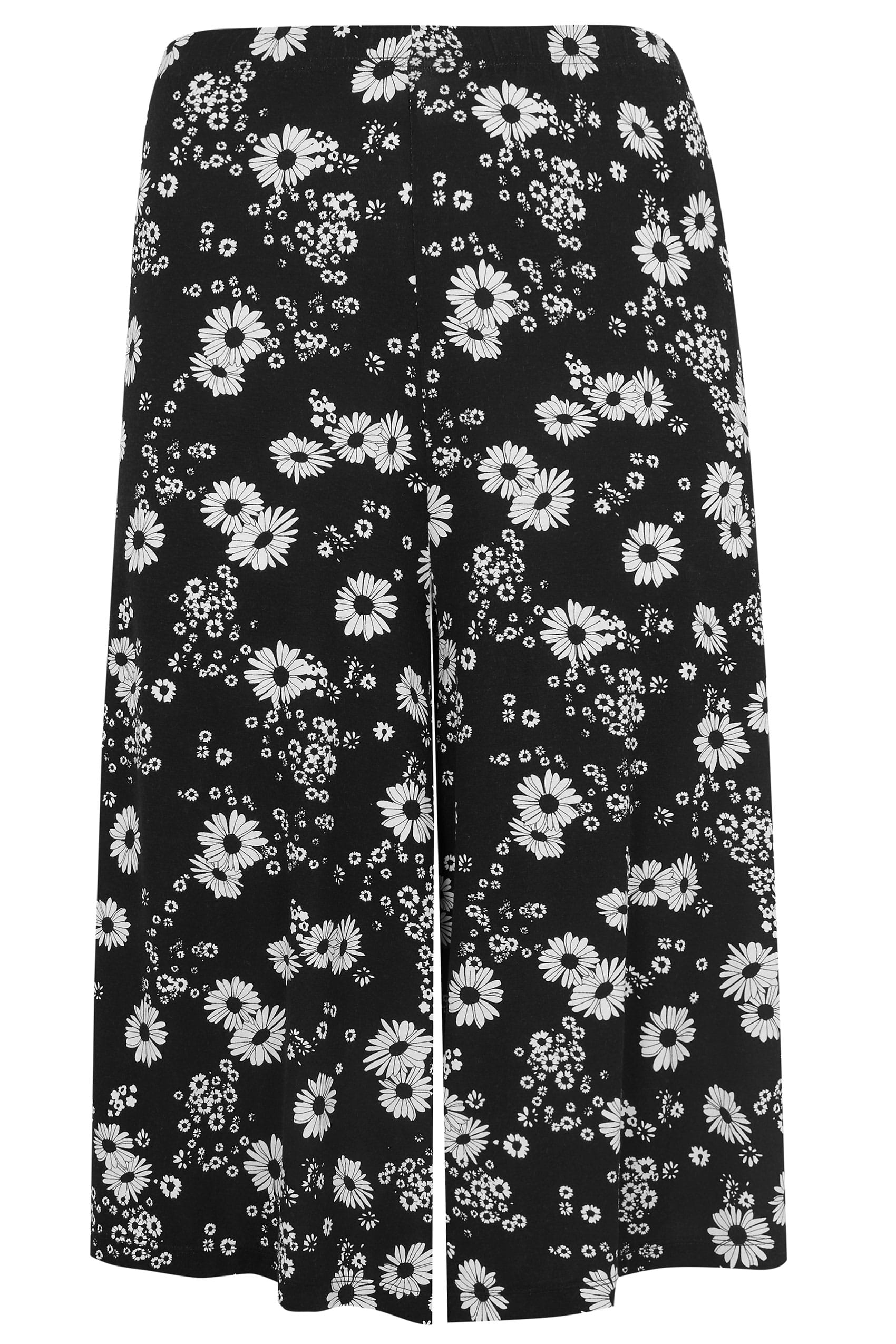 black white daisy print culottes plus size 16 to 36. Black Bedroom Furniture Sets. Home Design Ideas