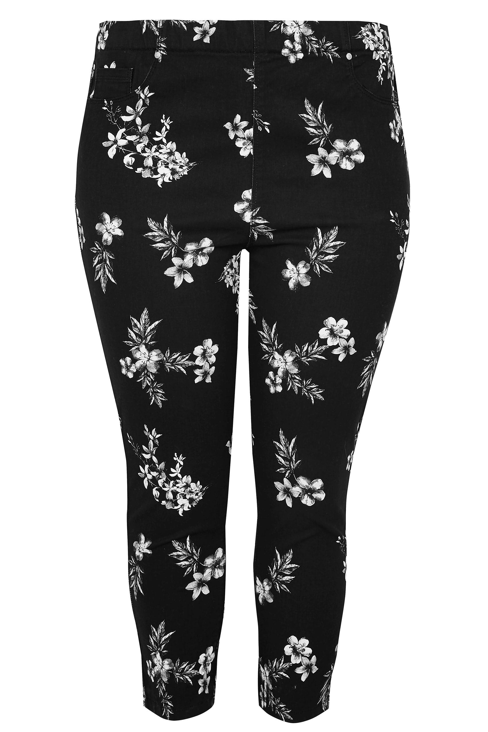 Black Amp White Floral Print Cropped Jenny Jeggings Plus