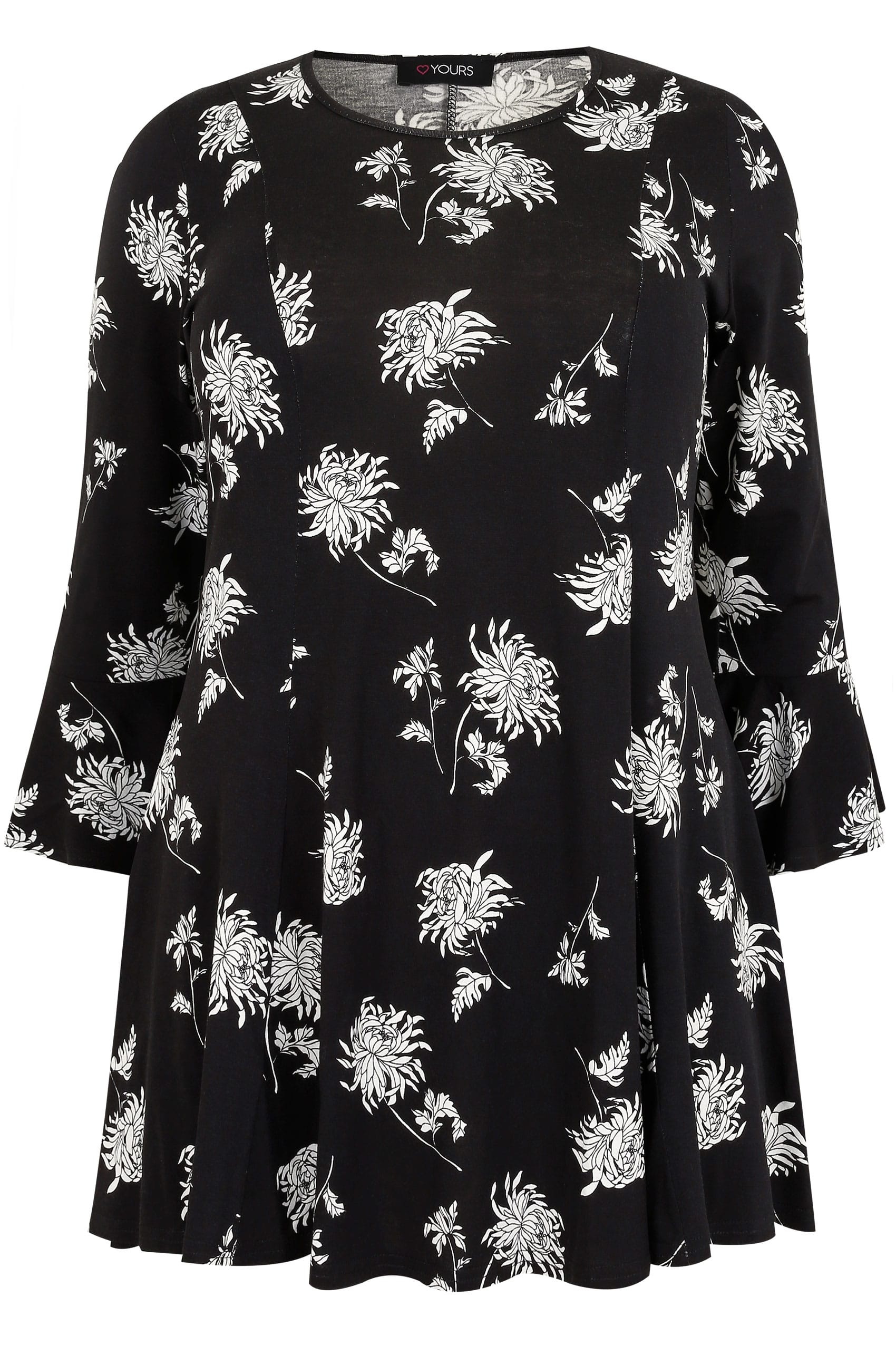 7b44c7491531f4 Hover over the images above to enlarge. Black & White Floral Print Longline  Peplum Top With Flute Sleeves