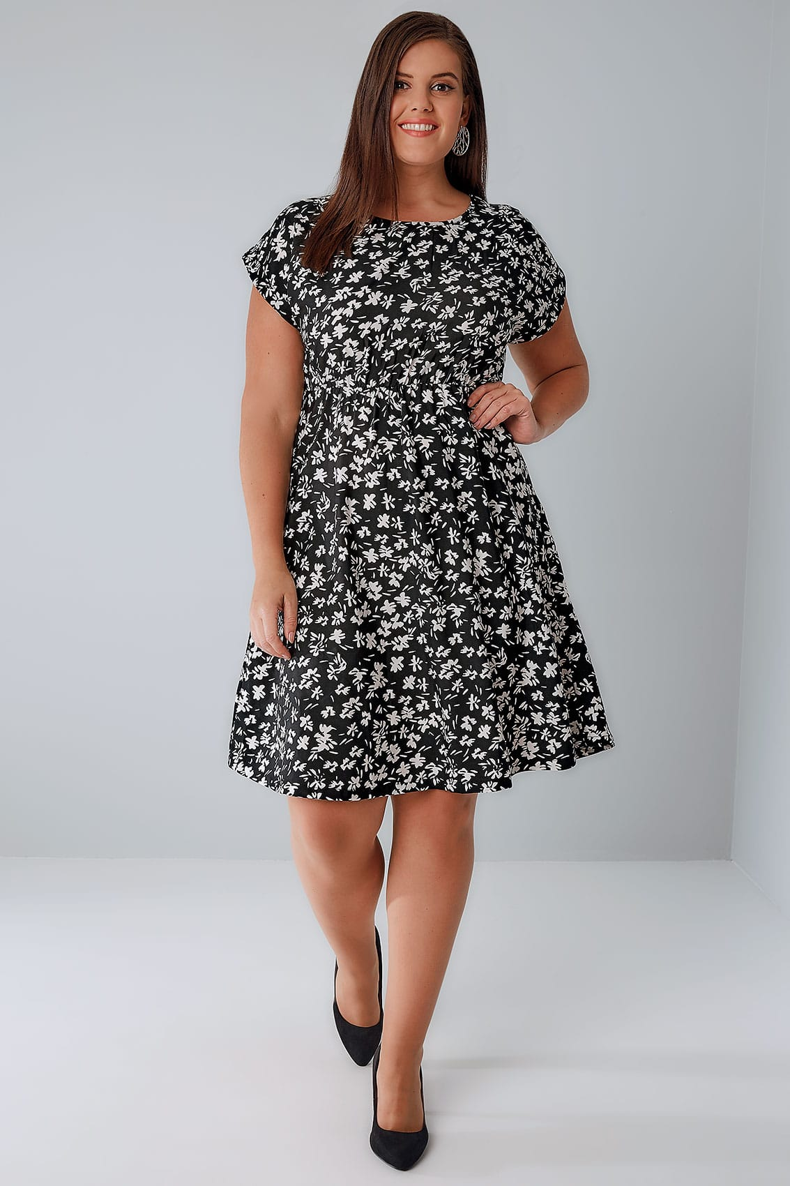 black amp white floral print skater dress with short turn
