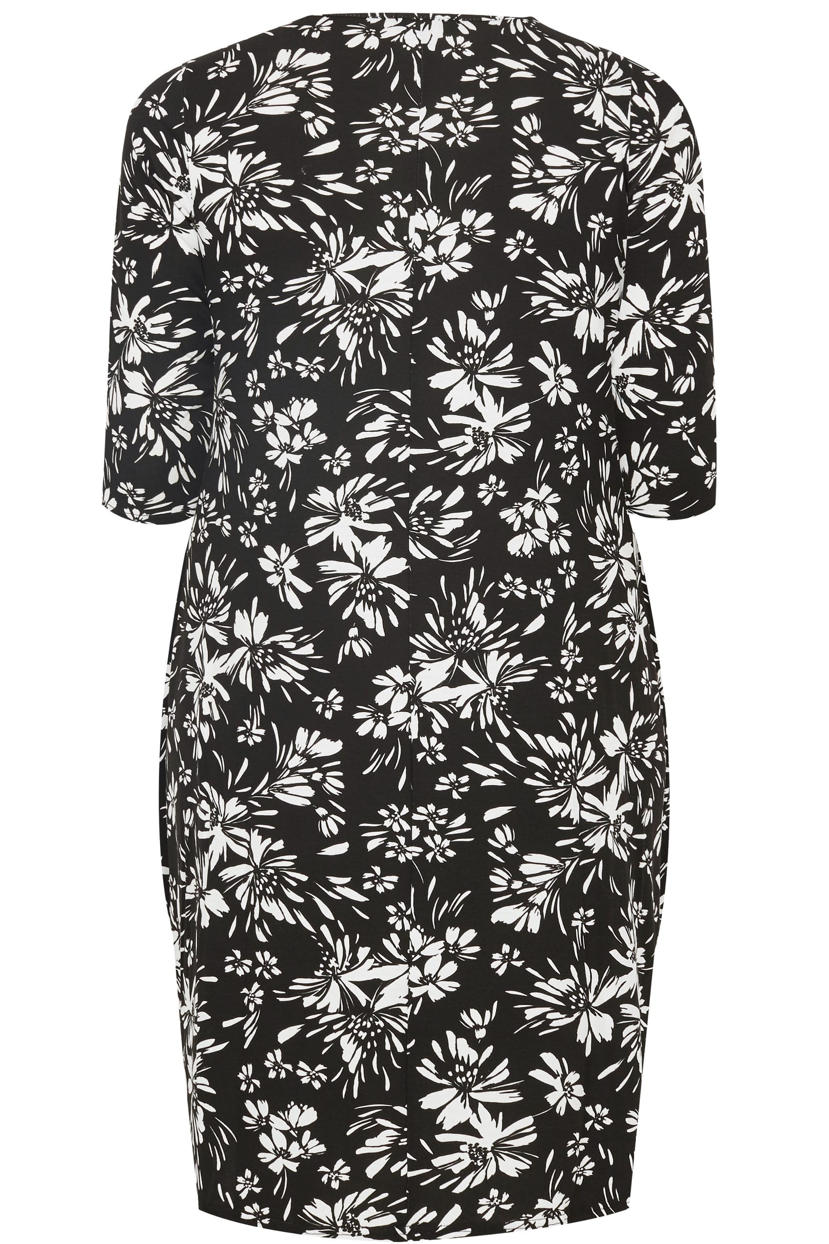 Black & White Floral Drape Pocket Jersey Dress With 3/4 ...