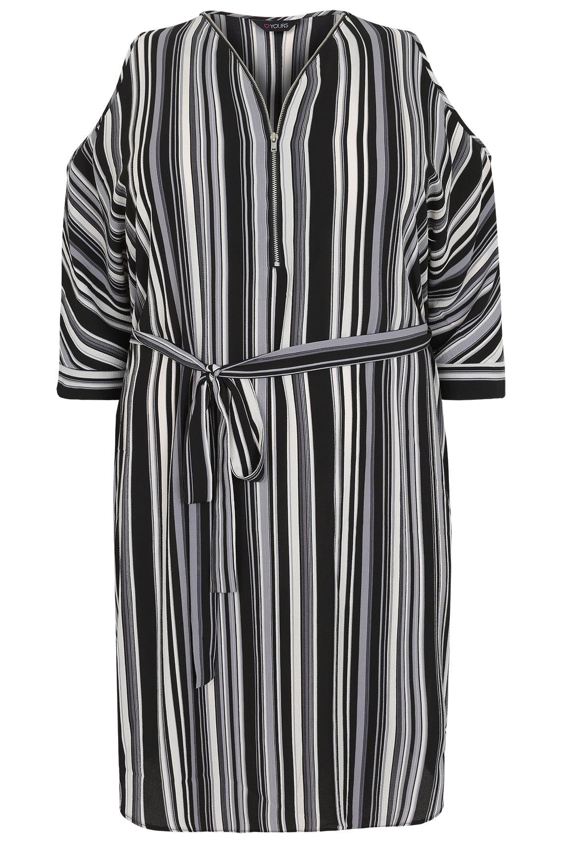 Black white grey stripe cold shoulder shirt dress with for Dark grey shirt dress