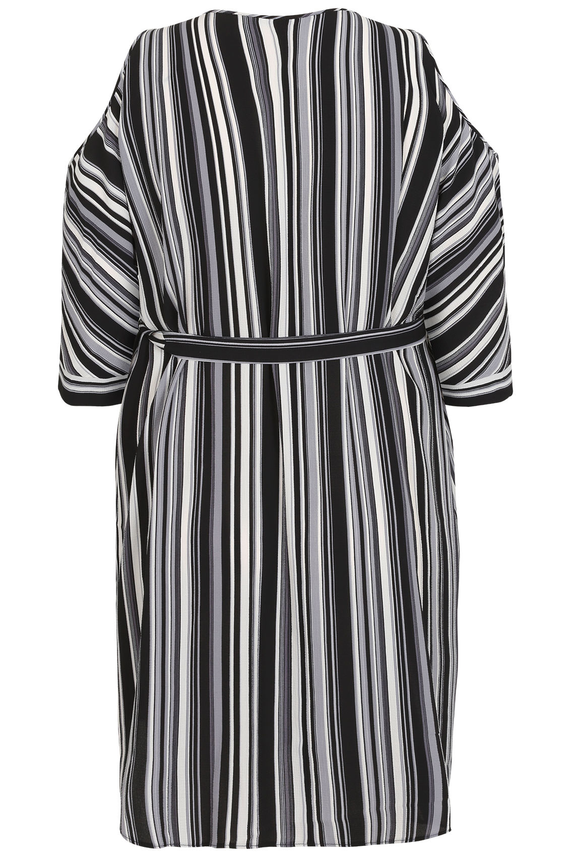 Black white grey stripe cold shoulder shirt dress with for Zip up dress shirt