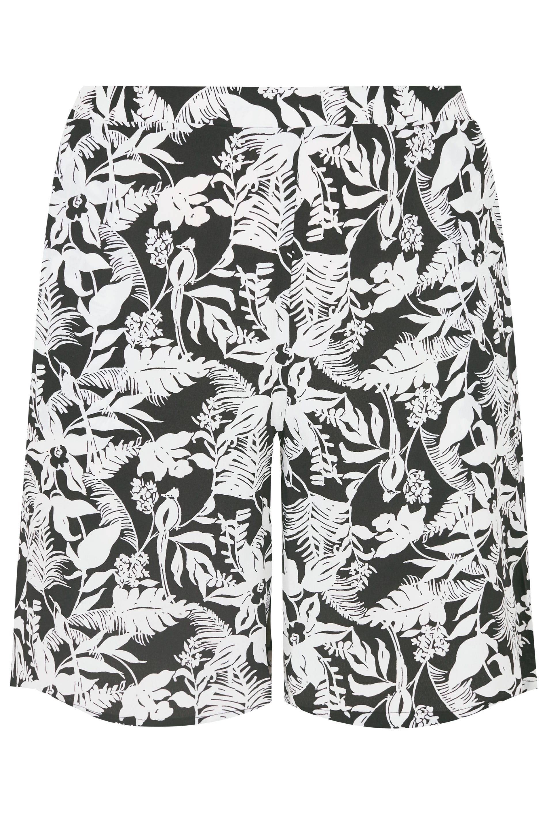 how to head a letter black amp white palm leaf print woven shorts plus size 16 to 32 40372