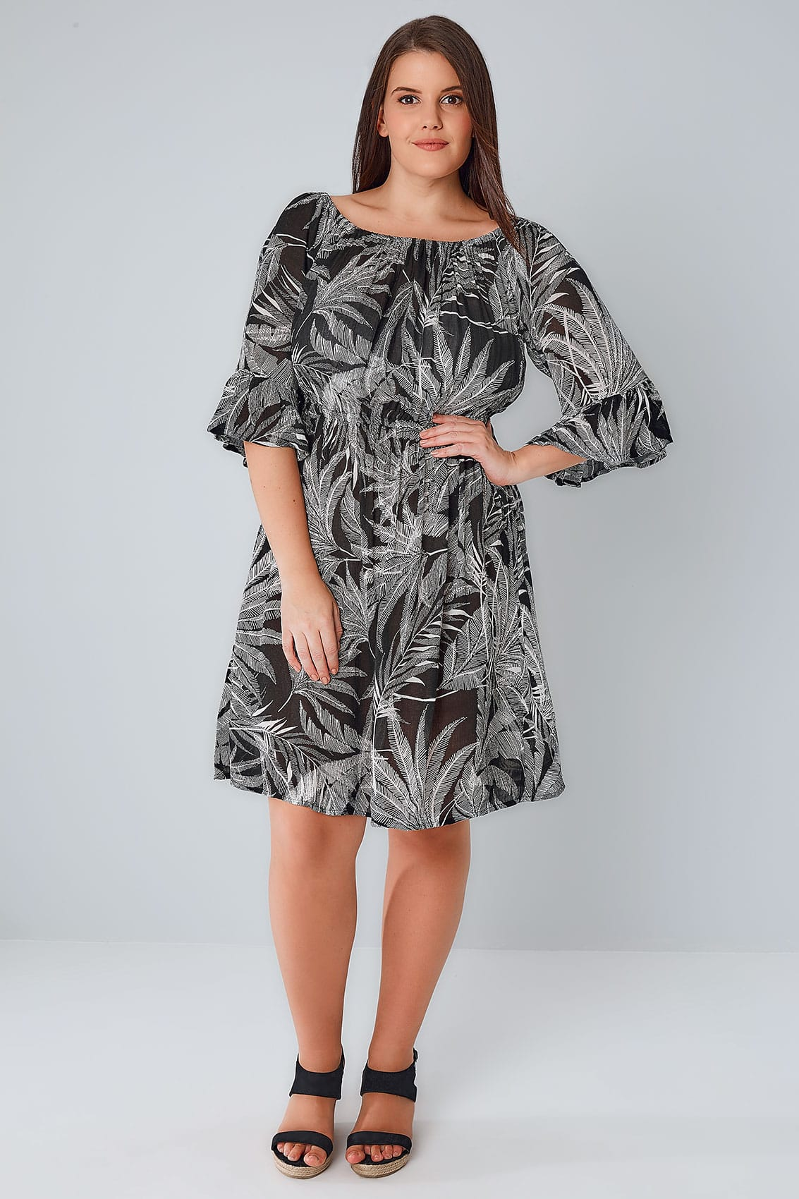 black  u0026 white palm print gypsy dress  plus size 16 to 36