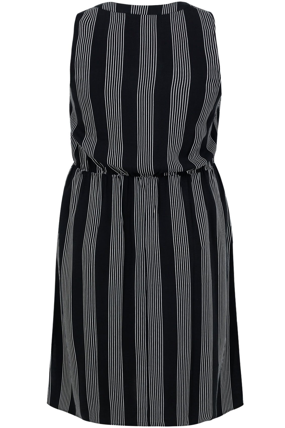 Black & White Pin Stripe Sleeveless Shirt Dress Plus Size ...