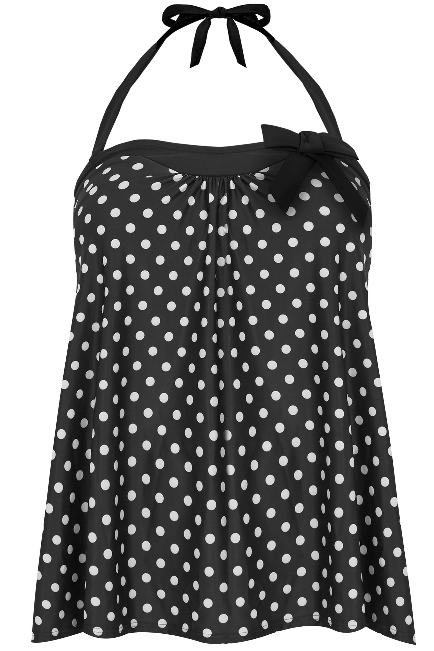black white polka dot print tankini top plus size 16 to 36. Black Bedroom Furniture Sets. Home Design Ideas