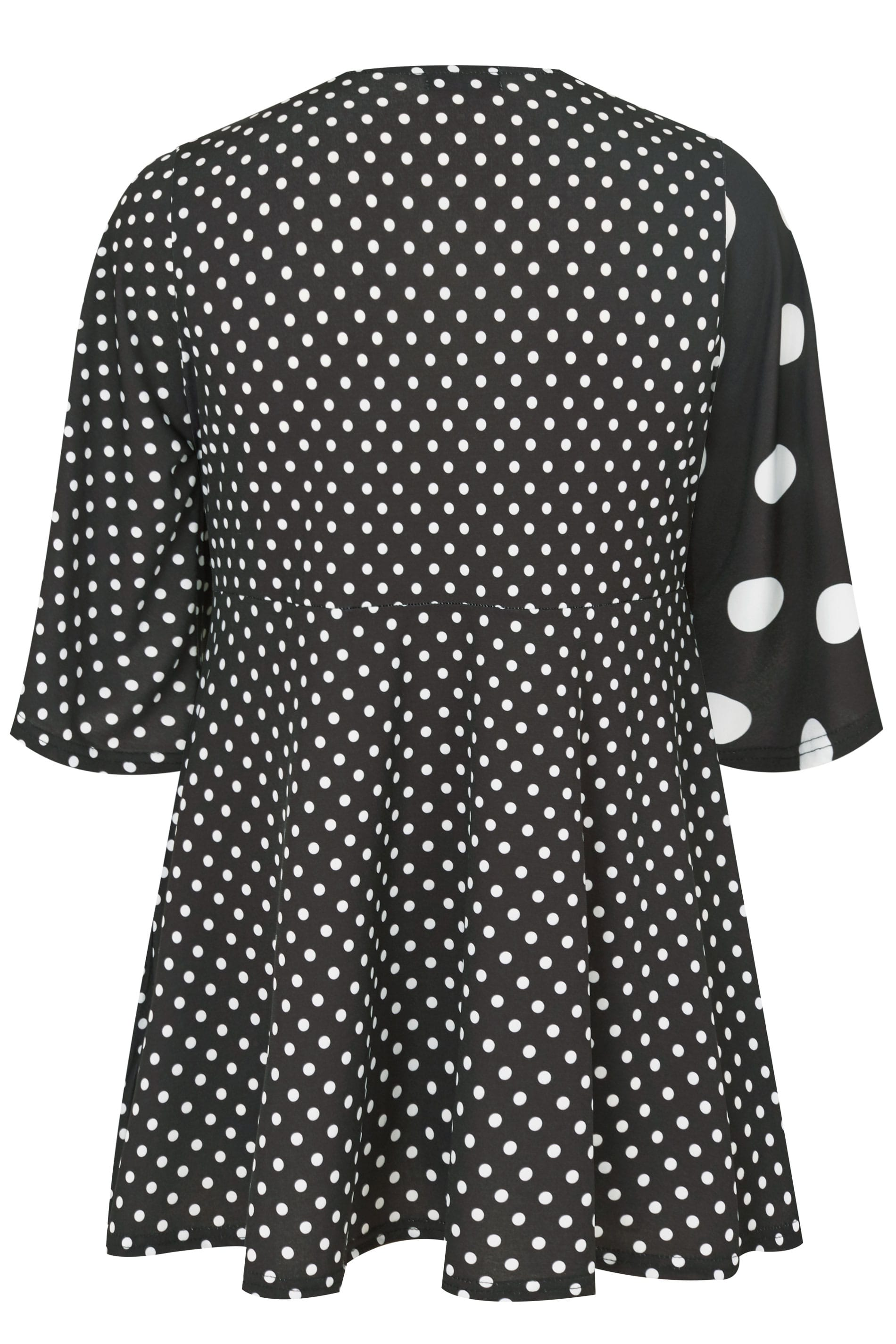 black white polka dot wrap blouse plus size 16 to 40. Black Bedroom Furniture Sets. Home Design Ideas