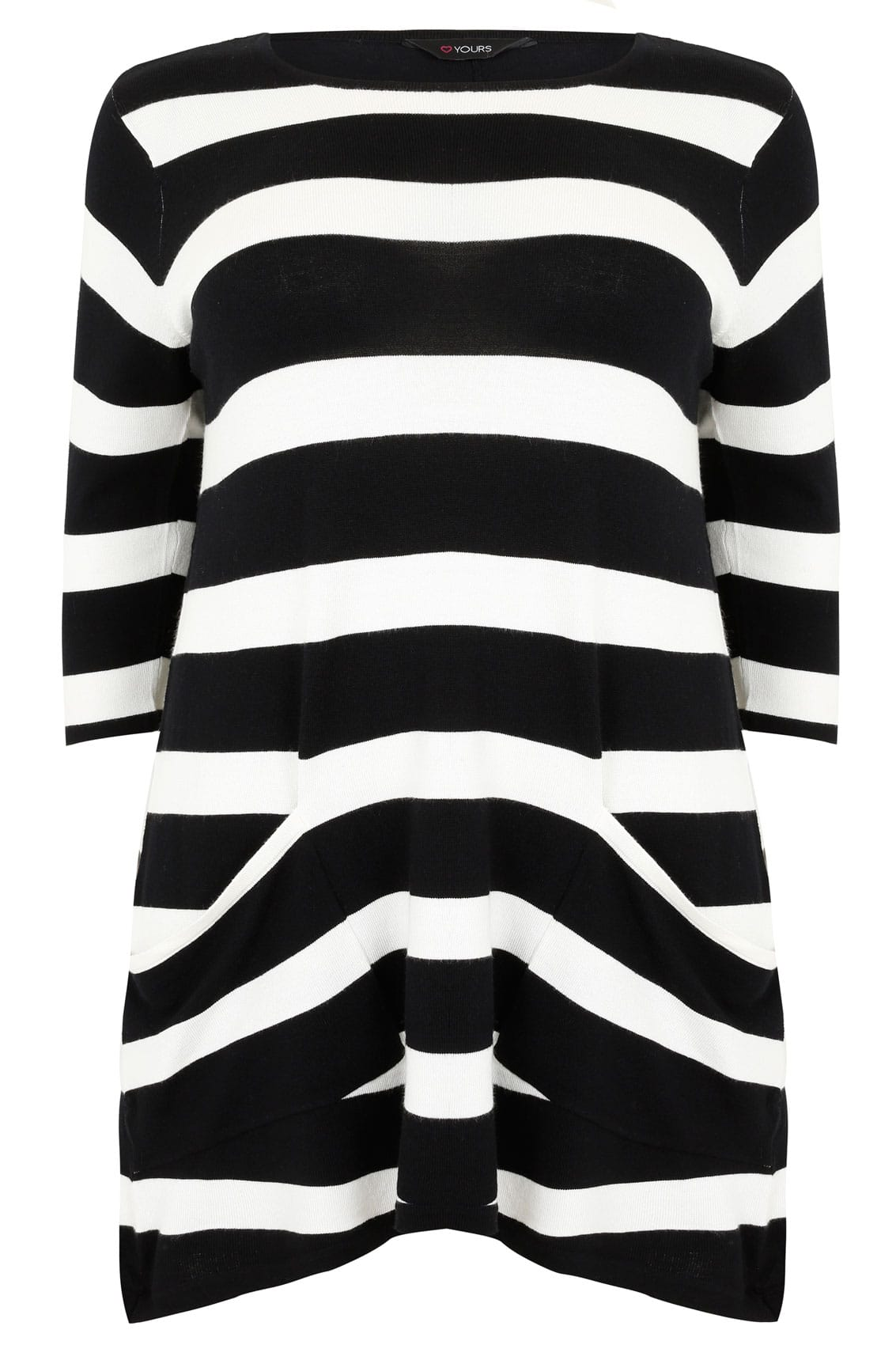 f7fc49835f8 Black   White Stripe Tunic Dress With Pockets