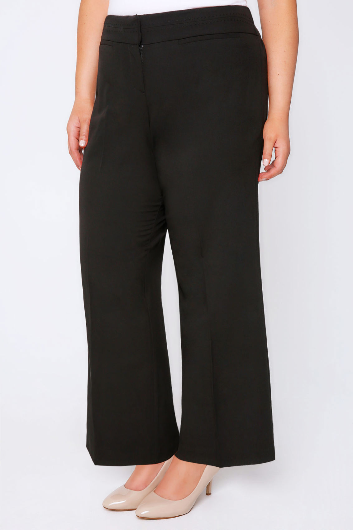 Black Wide Leg Trousers With Stab Stitch Detail Plus Size -4857