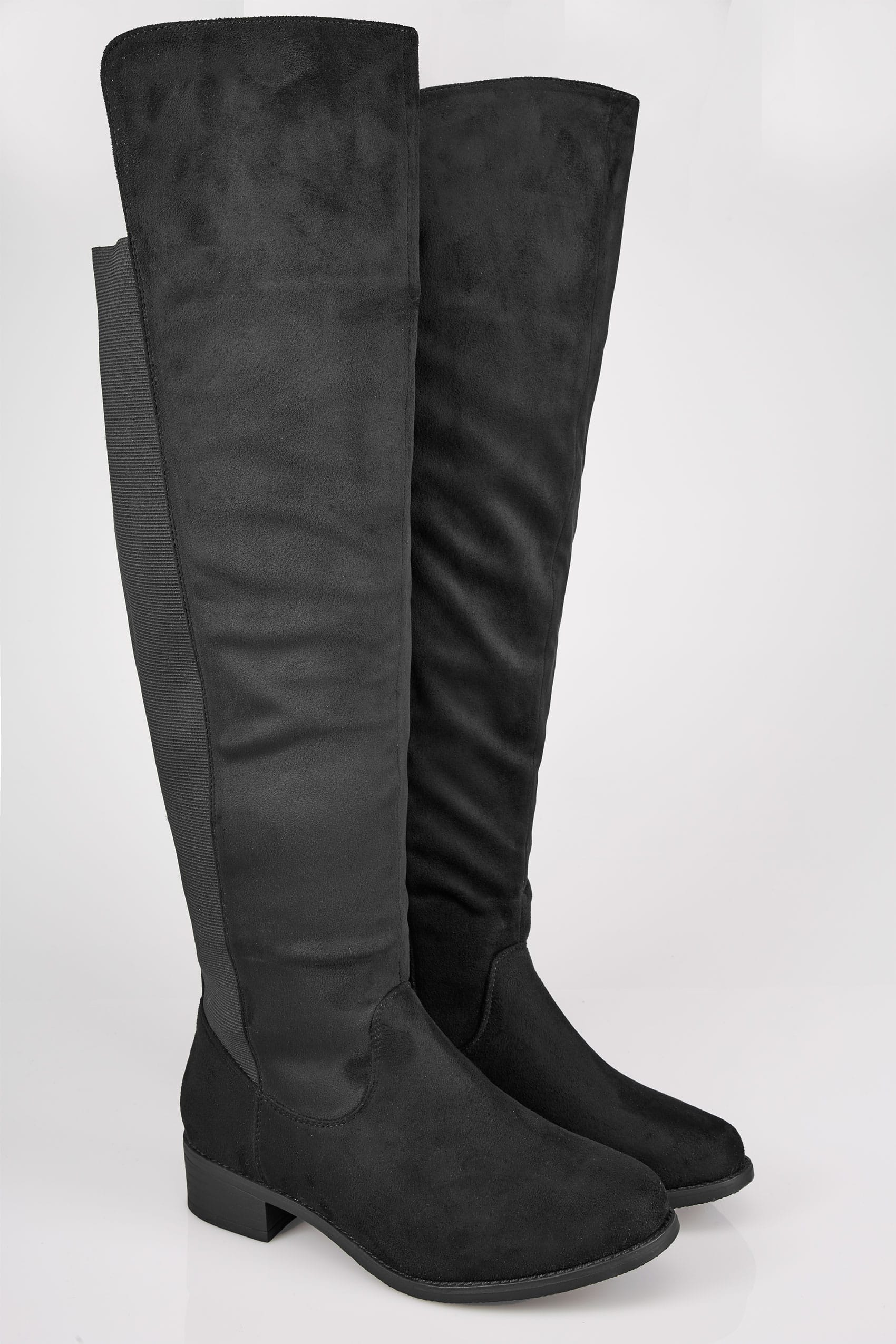 Black Xl Calf Over The Knee Boots With Stretch Panel