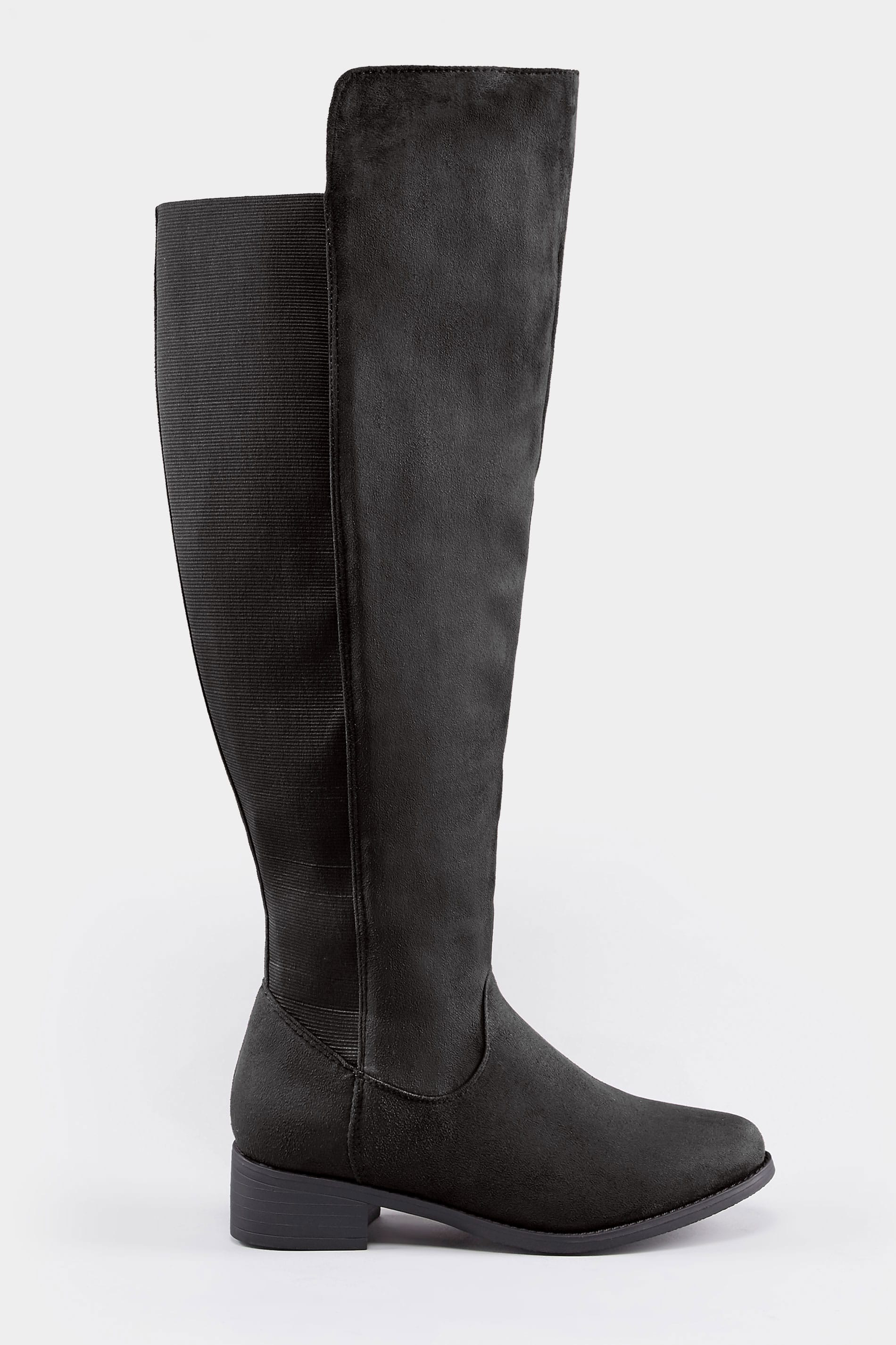 8484e93faeb Black XL Calf Over The Knee Boots With Stretch Panel In EEE Fit