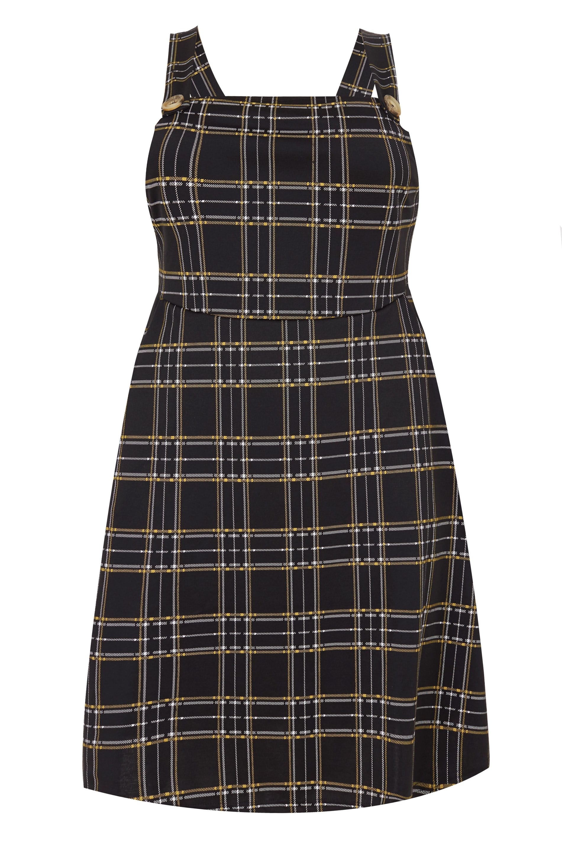 Collezione limitata Plus Size Black Yellow Check Pinafore-5830