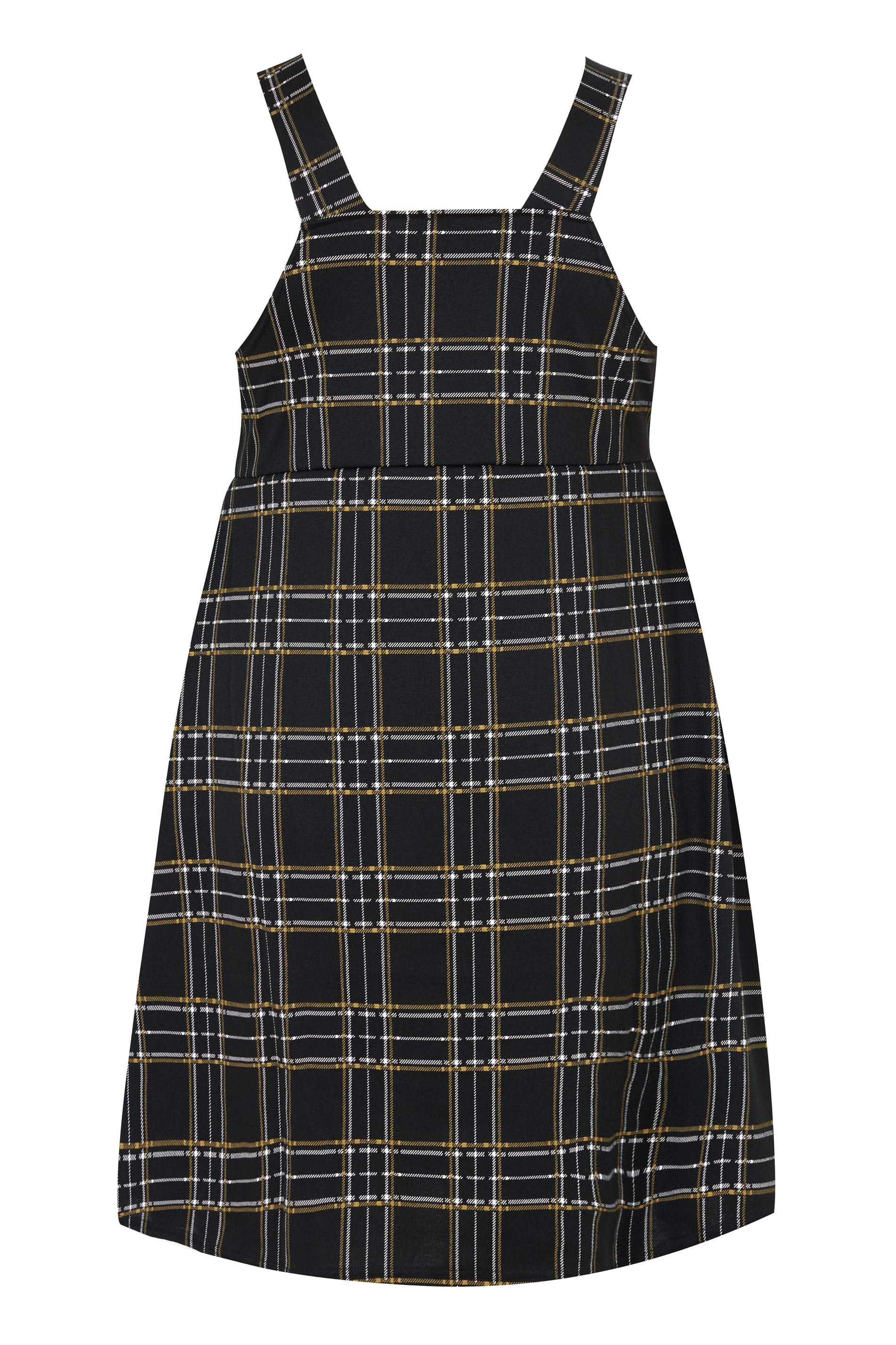 Collezione limitata Plus Size Black Yellow Check Pinafore-4422