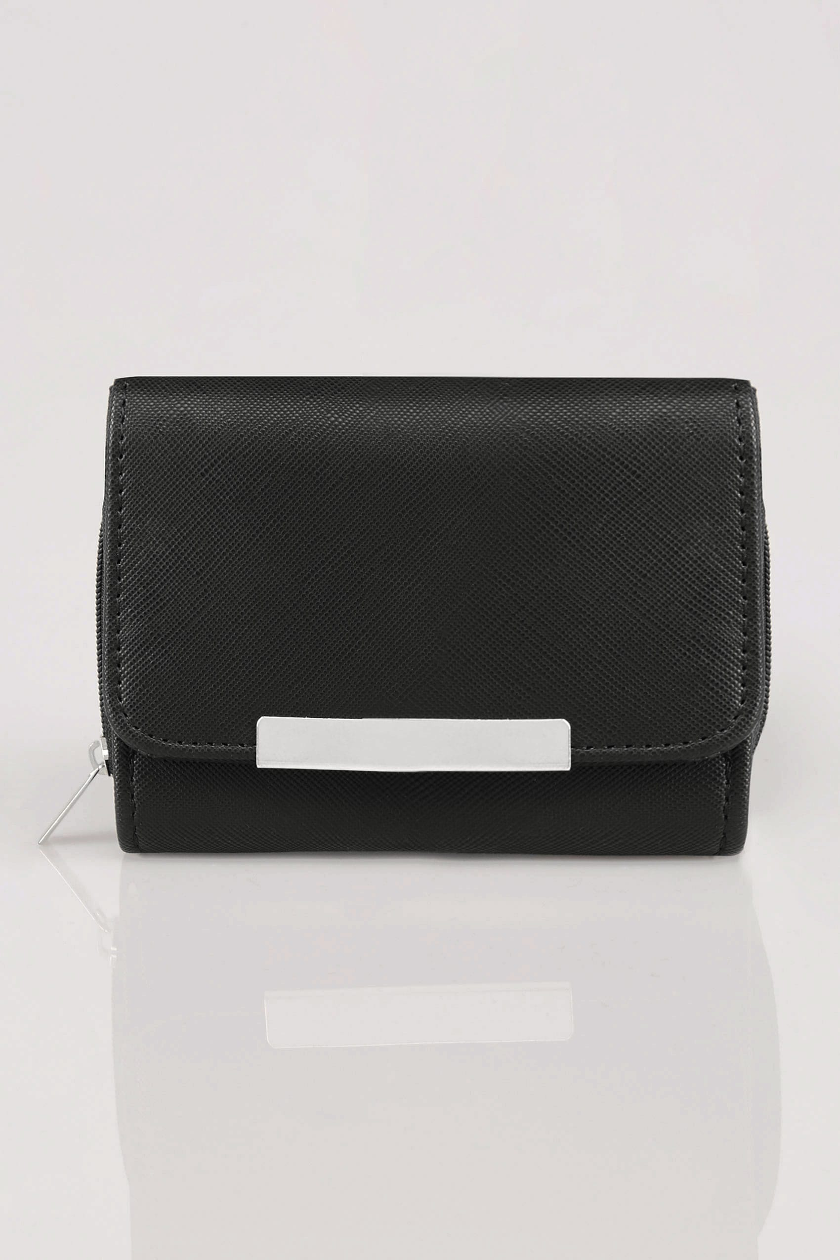 Black zip around purse with metal bar trim for Buy here pay later