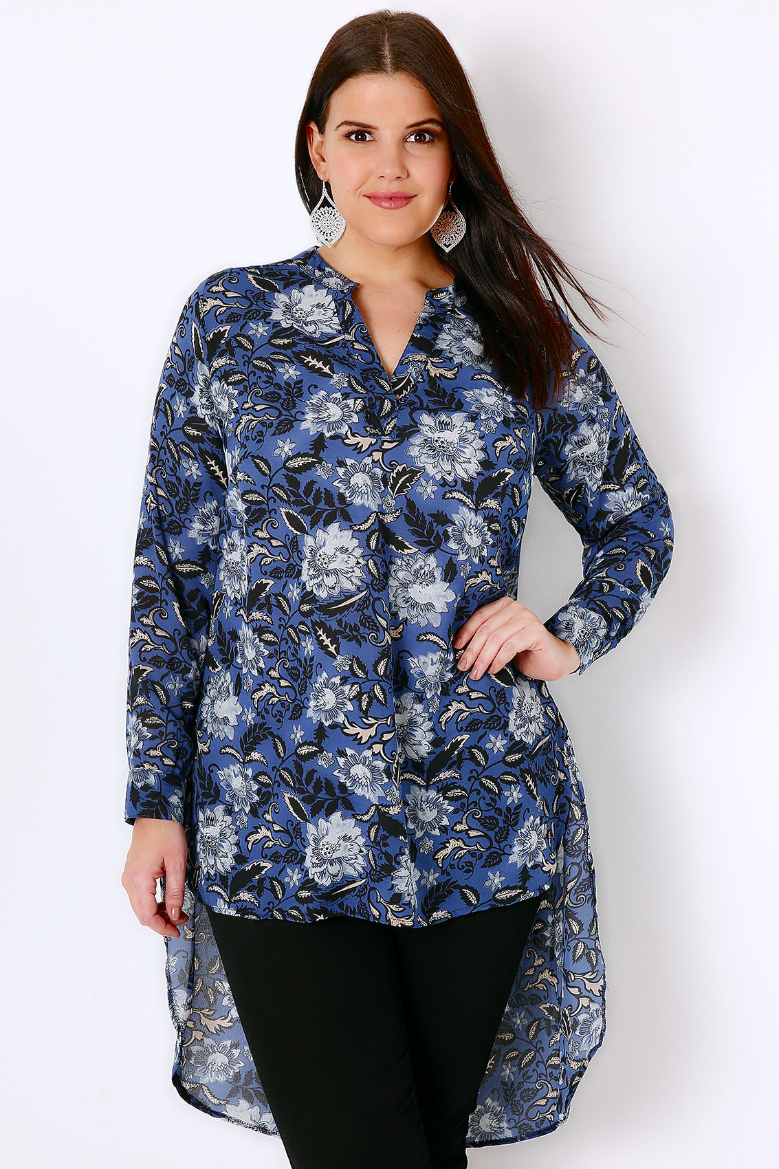 blue  u0026 black floral print blouse with extreme dipped hem plus size 16 to 32