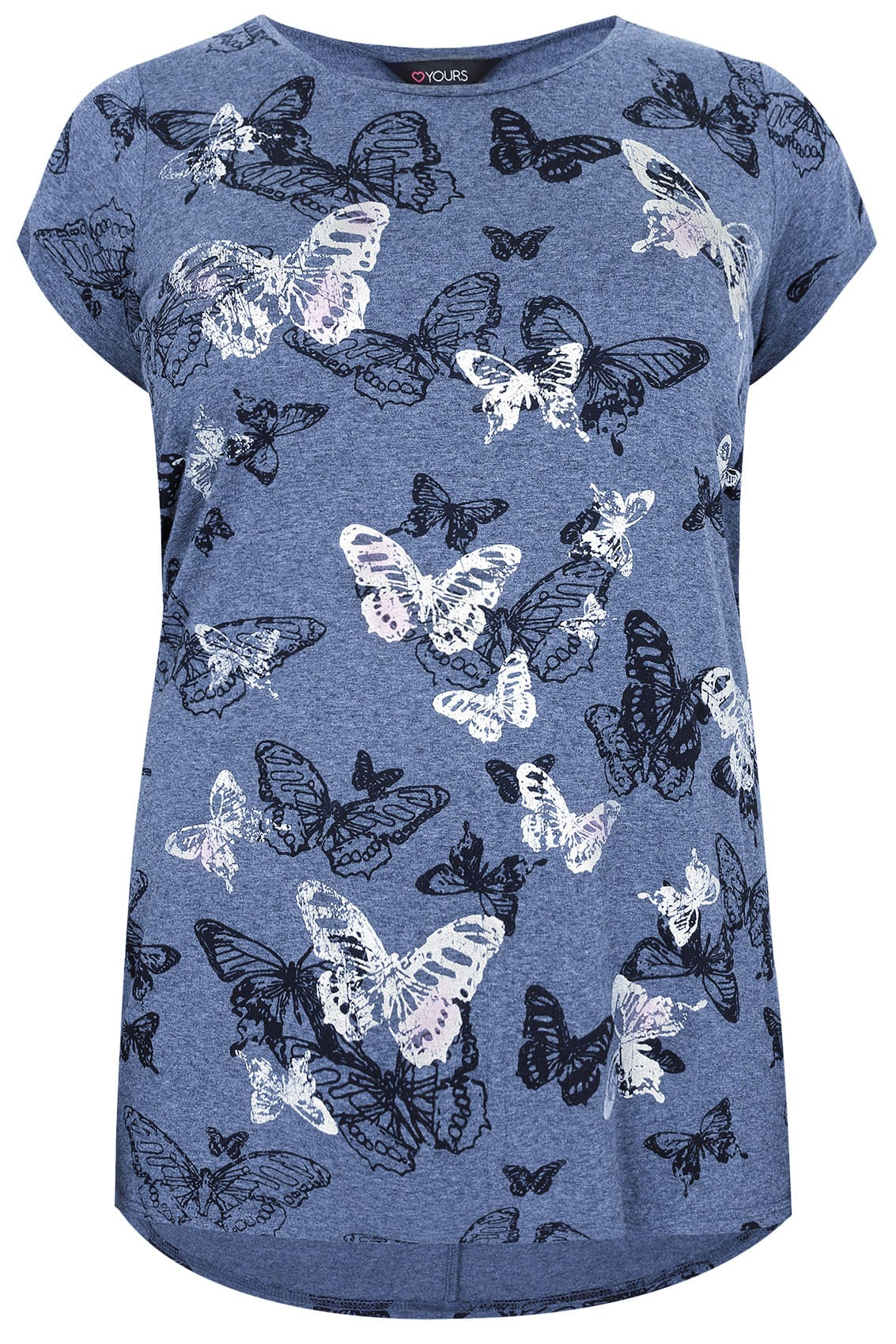 Blue marl butterfly print t shirt with foil detail plus for Quick print t shirts