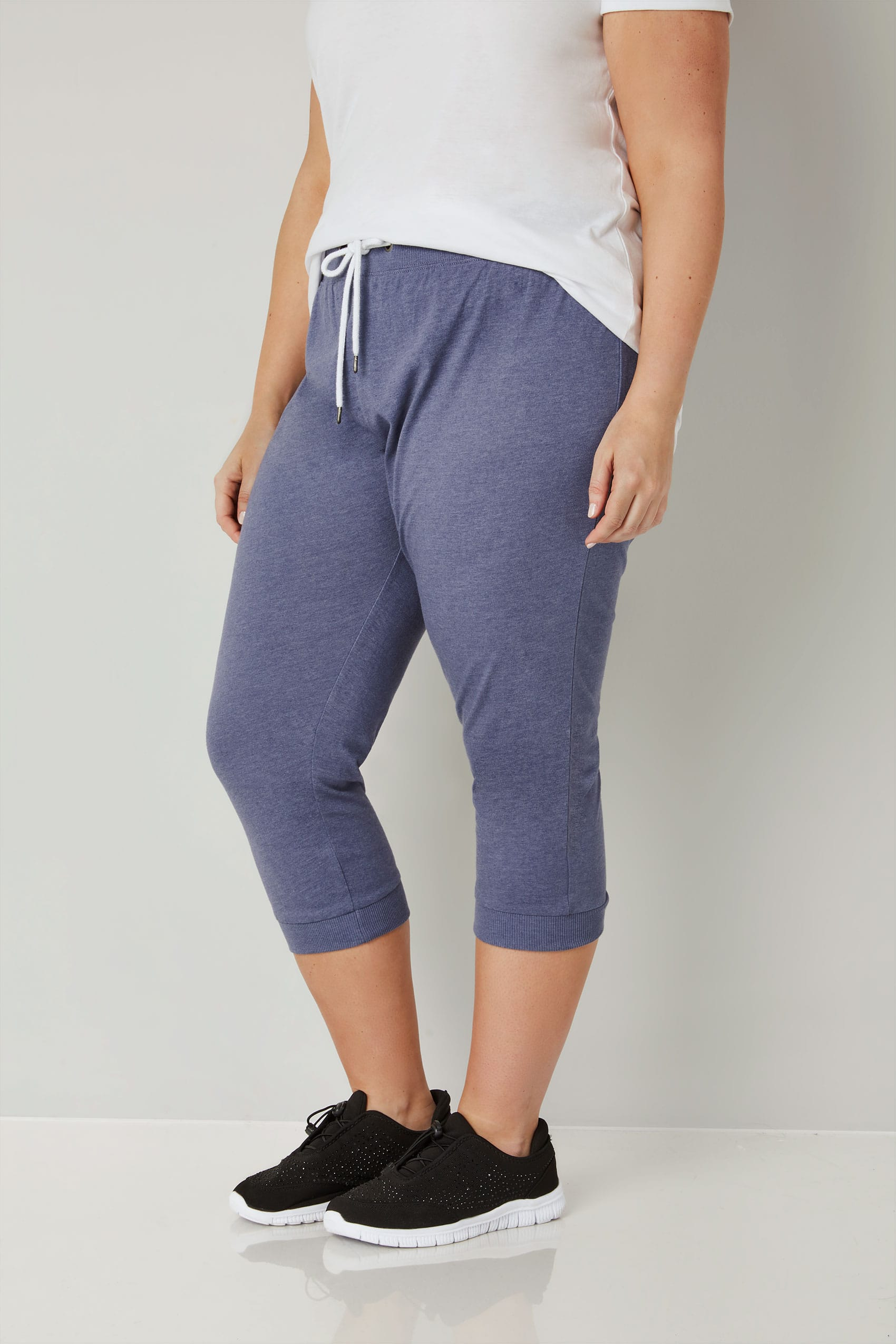 Blue Cropped Joggers With Elasticated Waistband, plus size ...