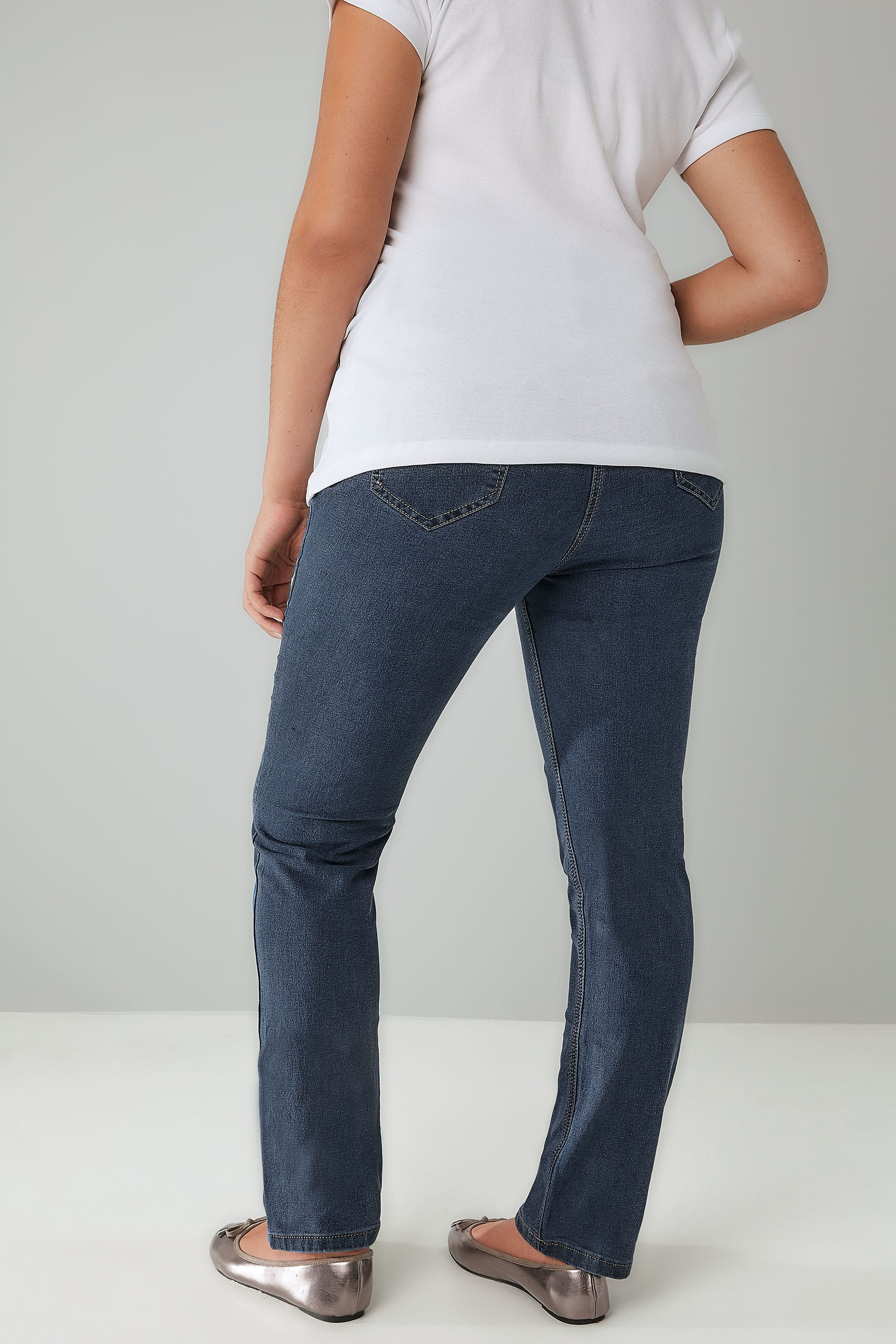 Blue Vintage Wash Straight Leg Ruby Jeans Plus Size 16 To 30