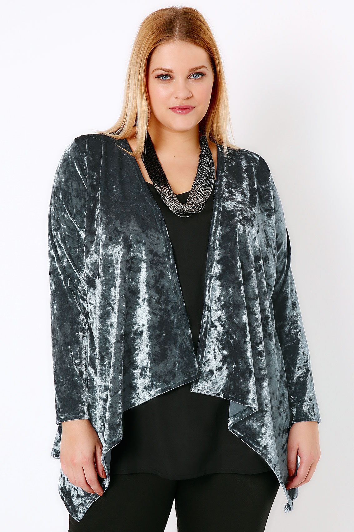 Blue Grey Crushed Velvet Waterfall Cardigan Plus Size 16 to 36