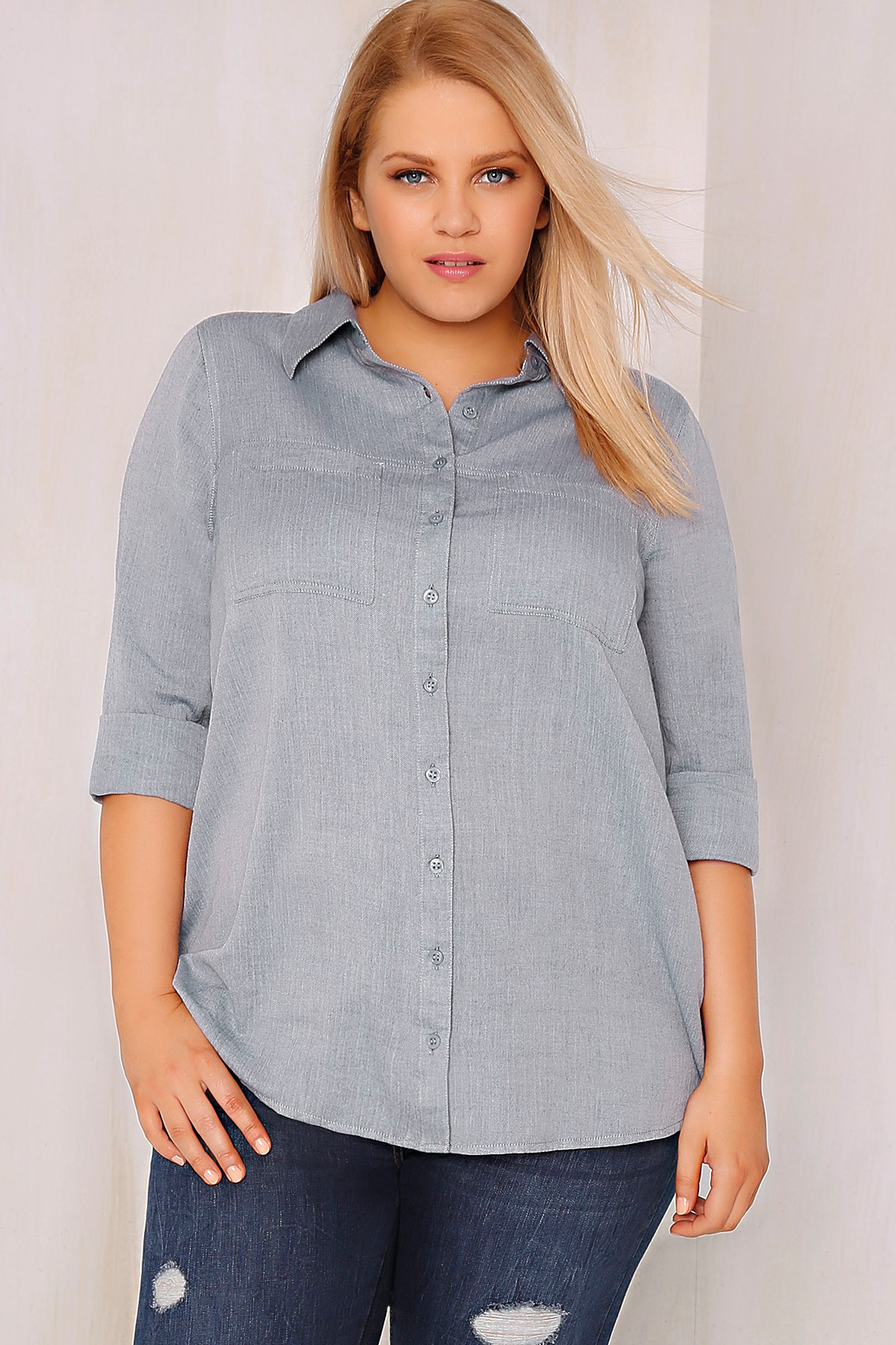 blue herringbone cotton boyfriend button up shirt with dip