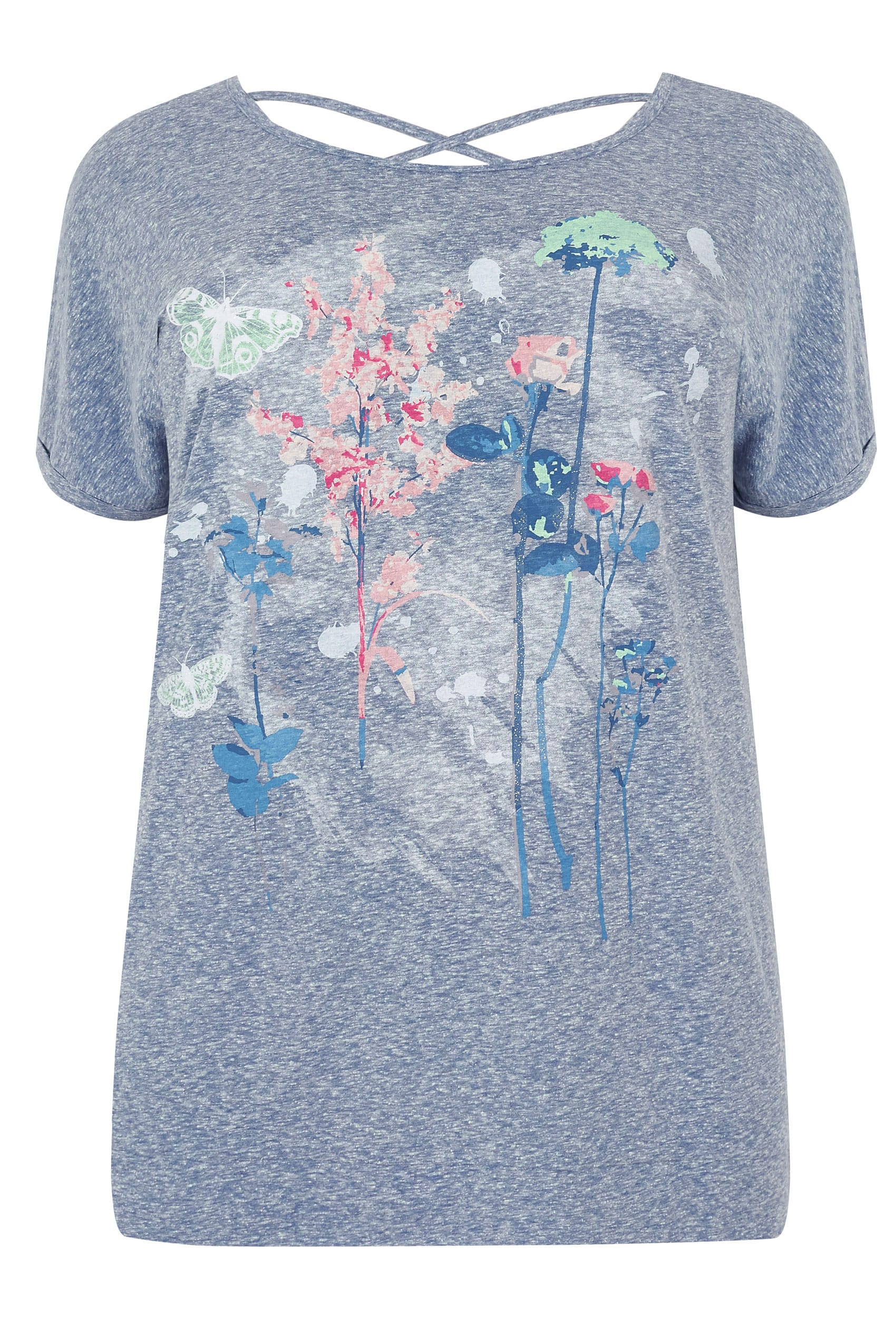 Blue marl floral butterfly print t shirt with cross over for Quick print t shirts