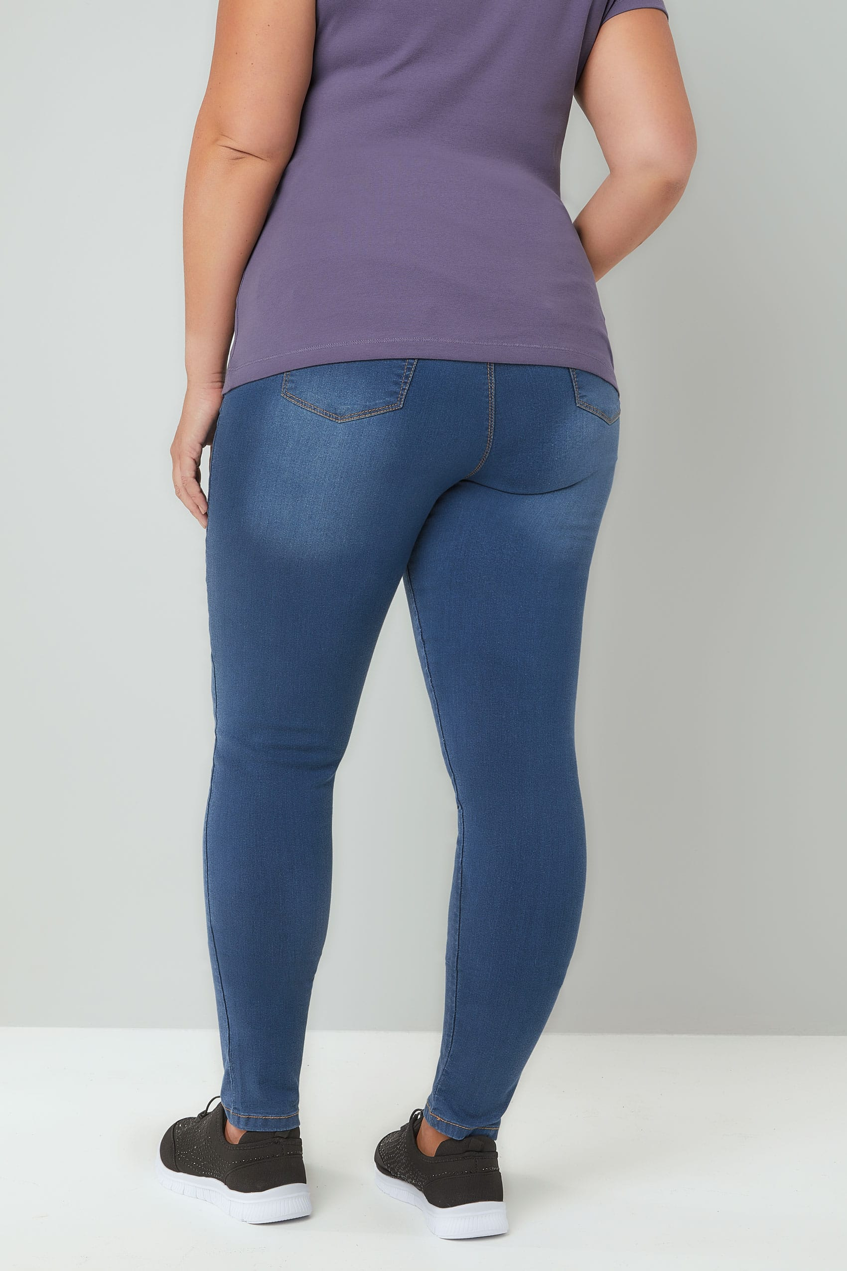 Blue Washed Pull On Stretch Shaper Jenny Jeggings Plus -3347