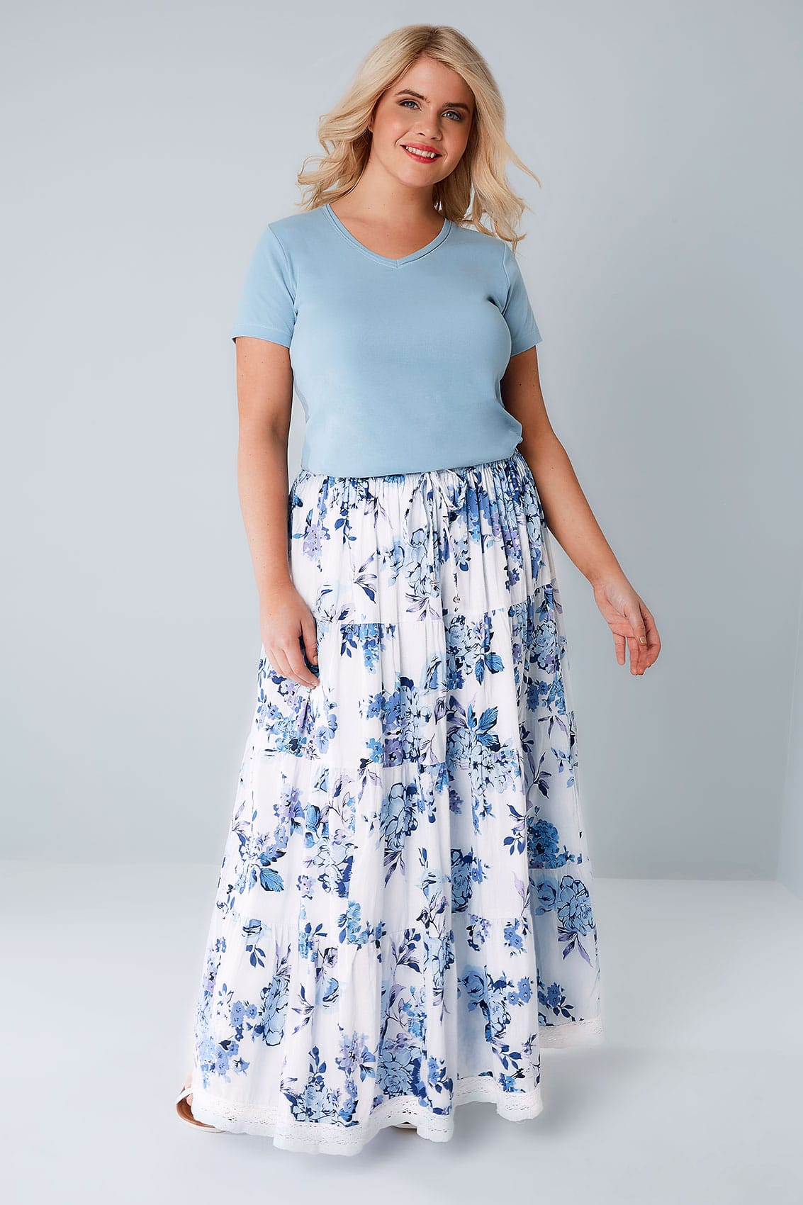 5f91e6342 BLUE & WHITE FLORAL PRINT TIERED MAXI SKIRT WITH LACE TRIM HEM PLUS SIZE 16  TO 36 on The Hunt