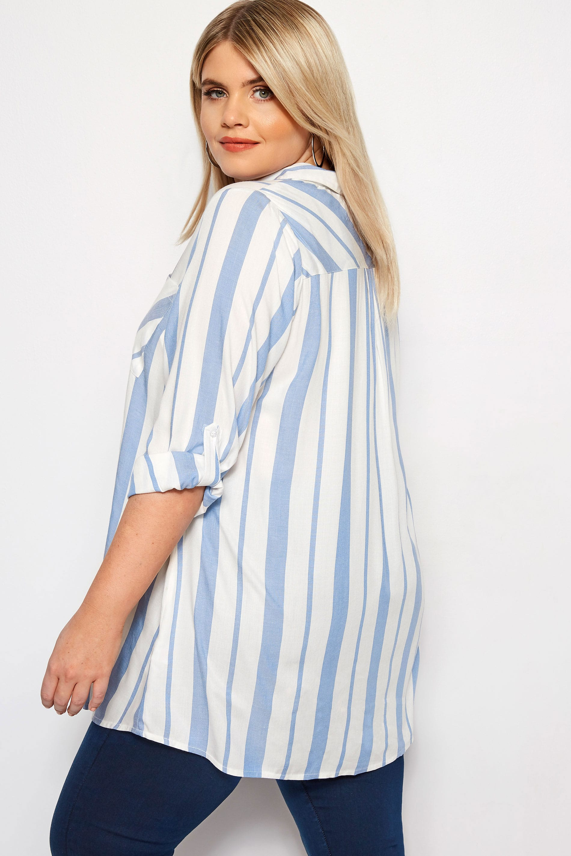 ee23e7248346 Blue & White Oversized Striped Shirt | Sizes 16 to 36 | Yours Clothing