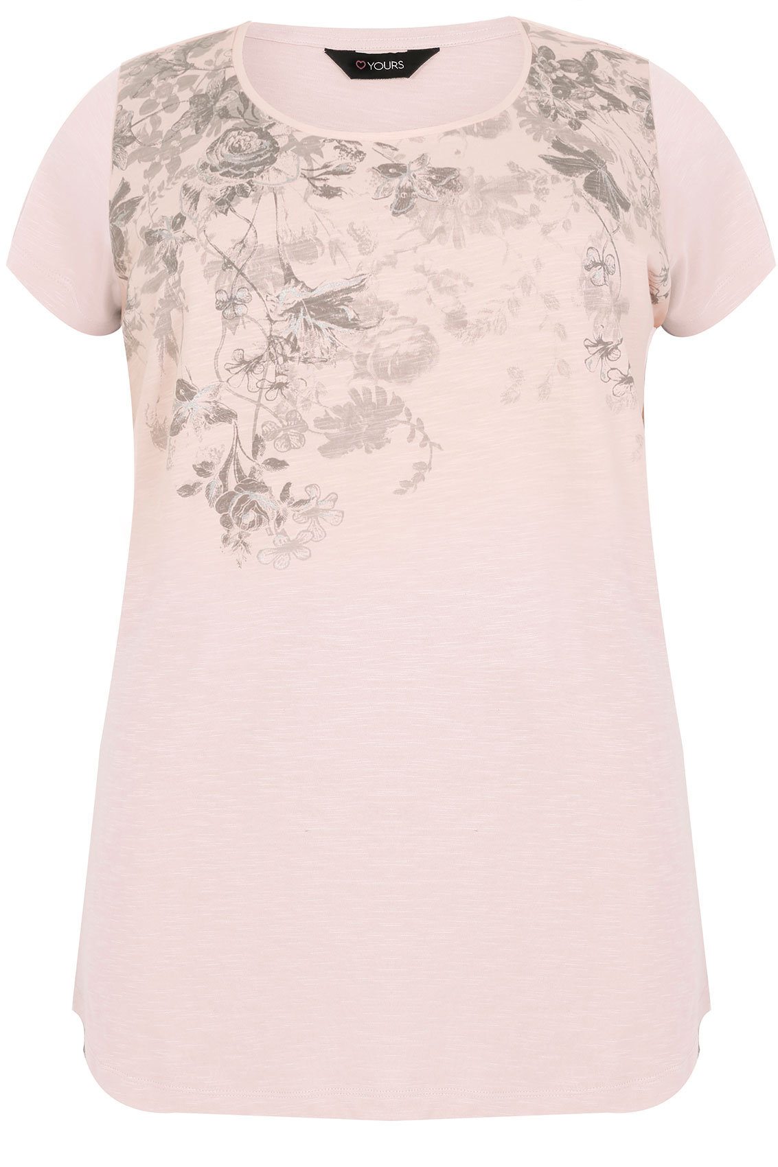 Blush pink floral rose print t shirt with curved hem plus for T shirt print dimensions