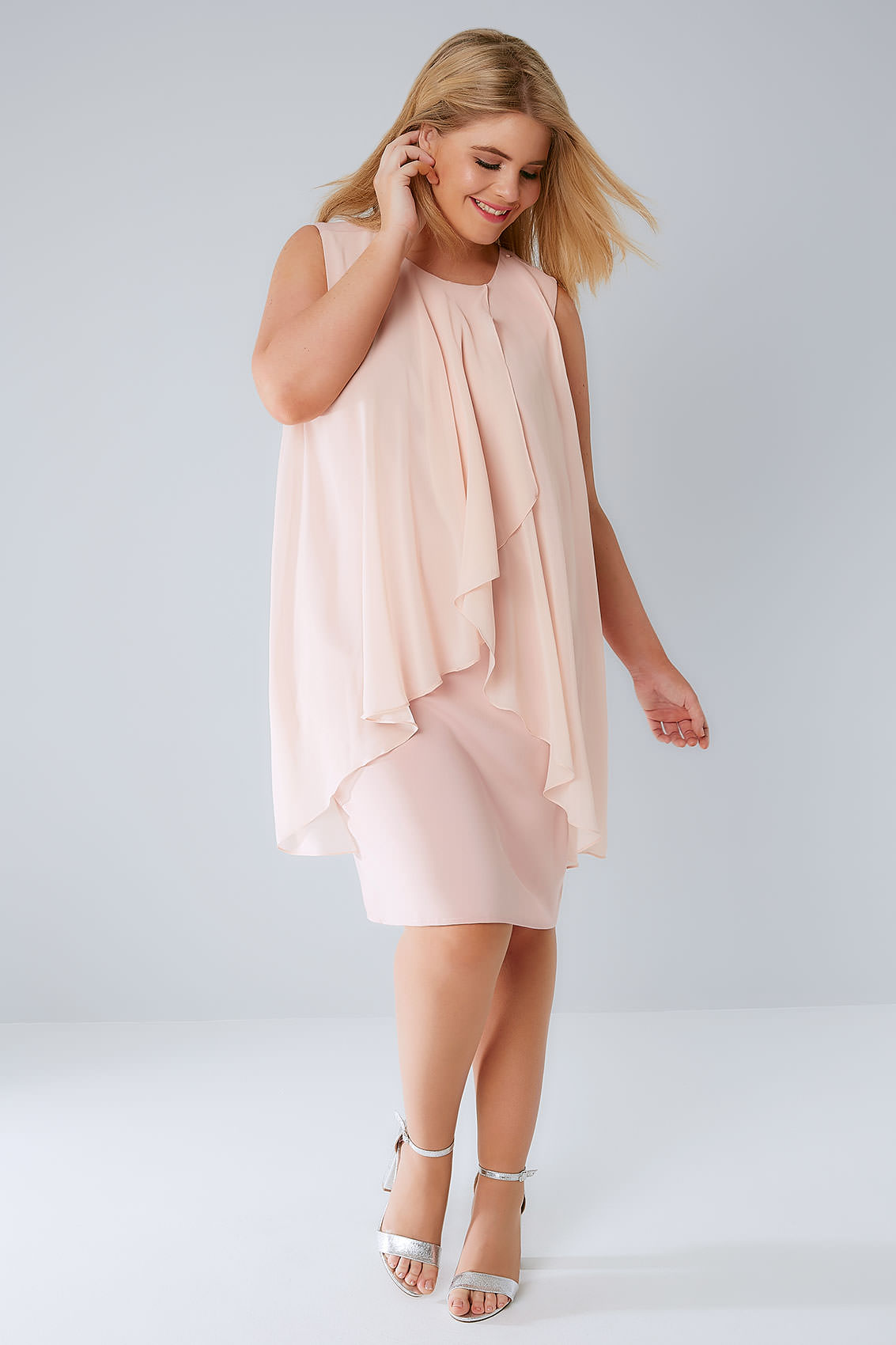Blush Pink Layered Front Dress With Detachable Diamante ...