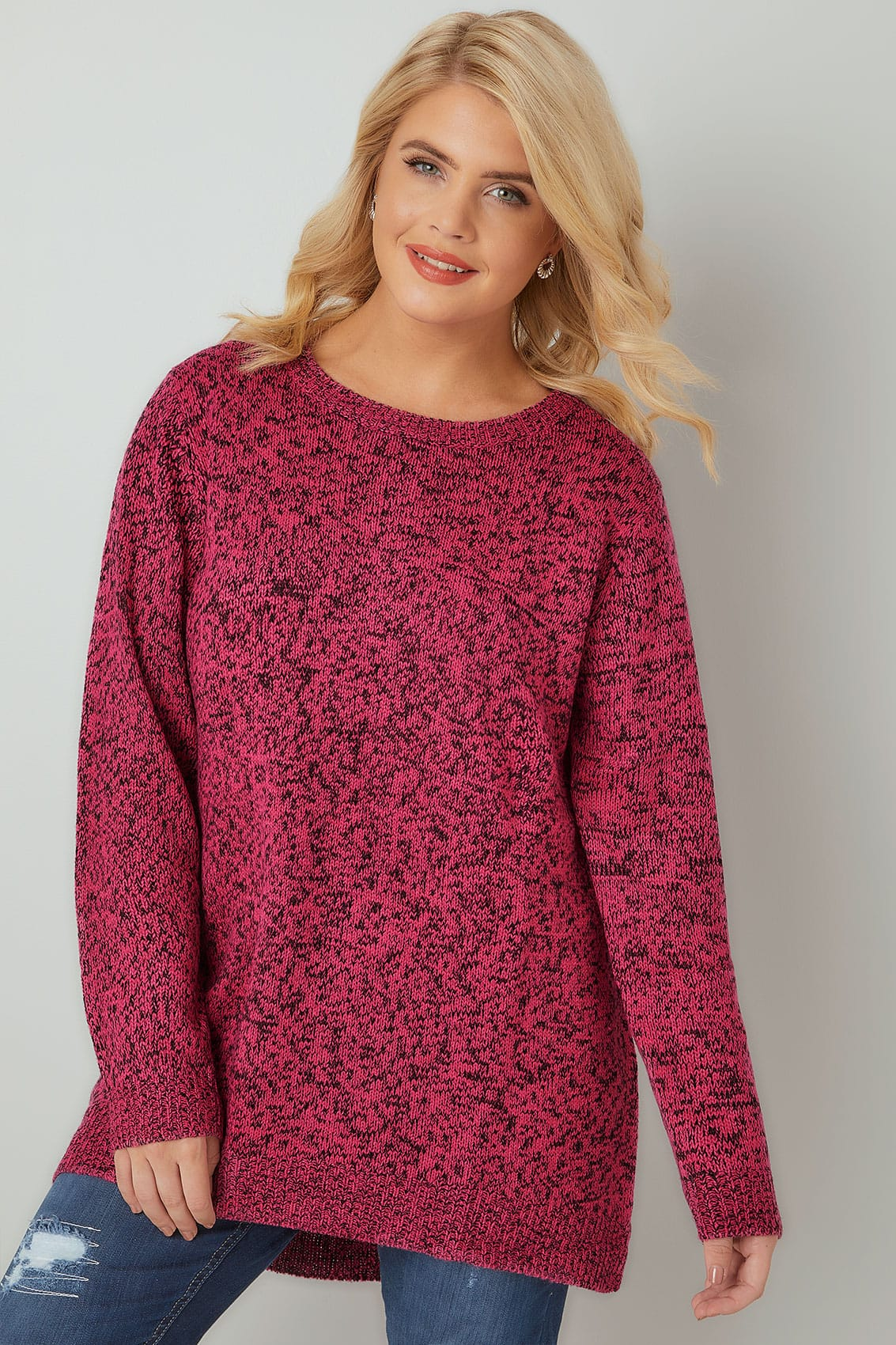 Bright Pink Textured Jumper With Dipped Hem Plus Size 16