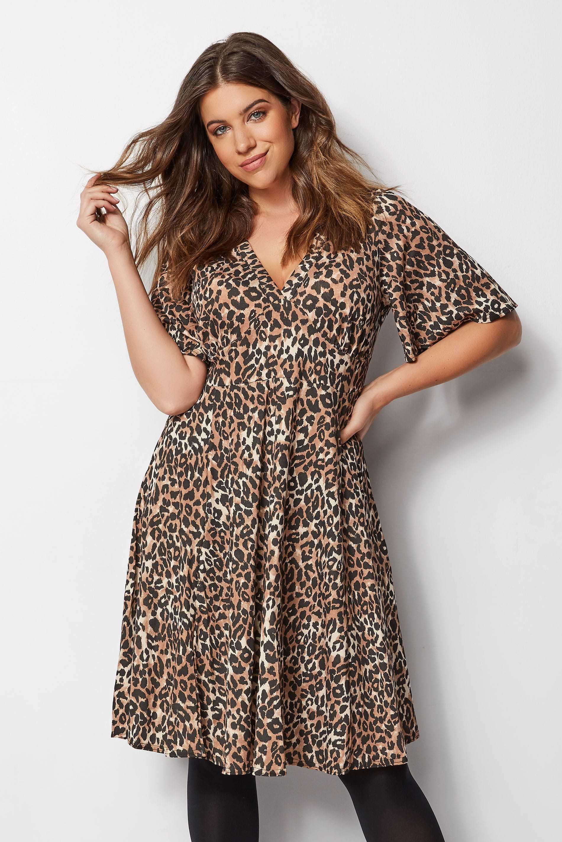 a745e1f03110 Brown Leopard Print Fit & Flare Dress, Plus size 16 to 36