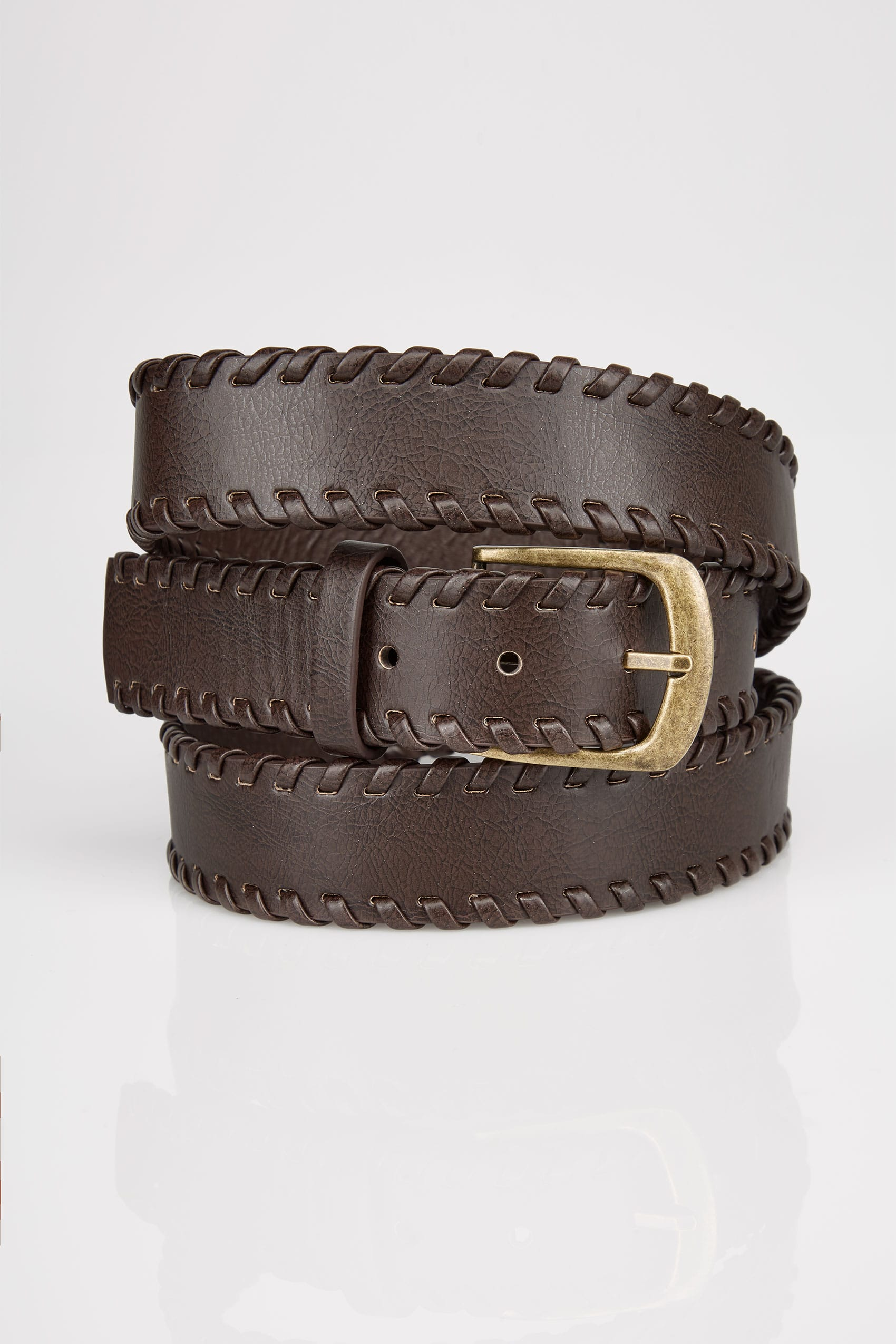 Brown whipstitch pin buckle belt for Buy here pay later