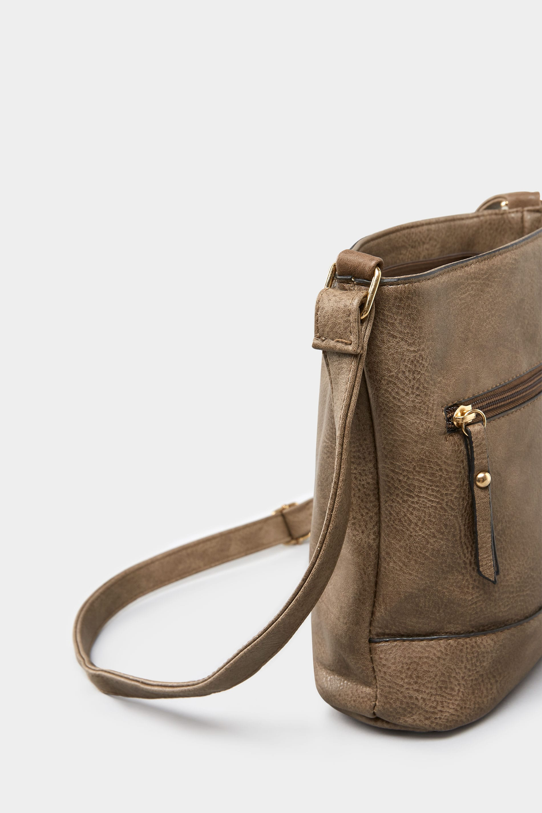Brown Zip Cross Body Bag One Size Yours Clothing