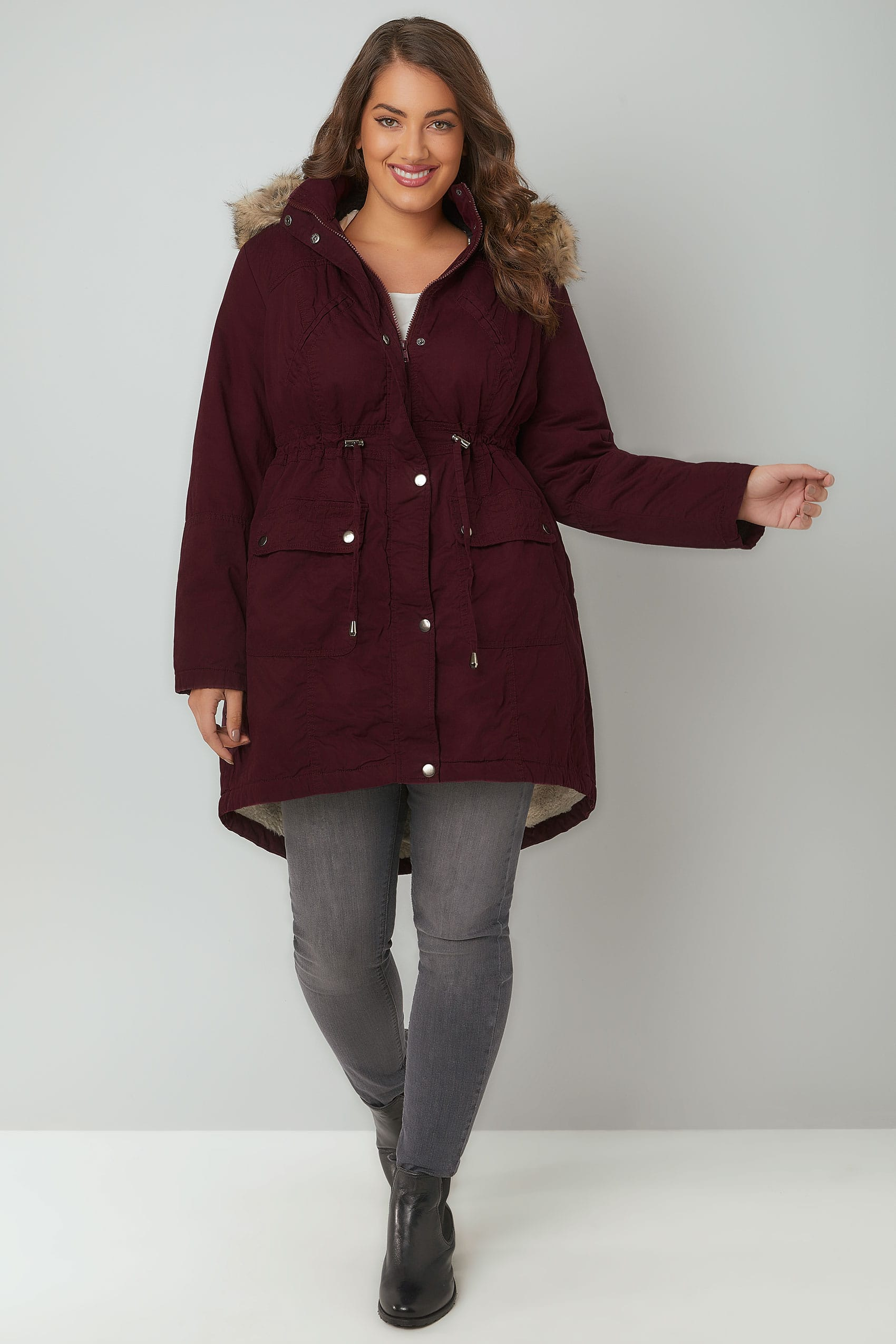 Burgundy Cotton Parka With Faux Fur Trim Hood, Plus size 16 to 36