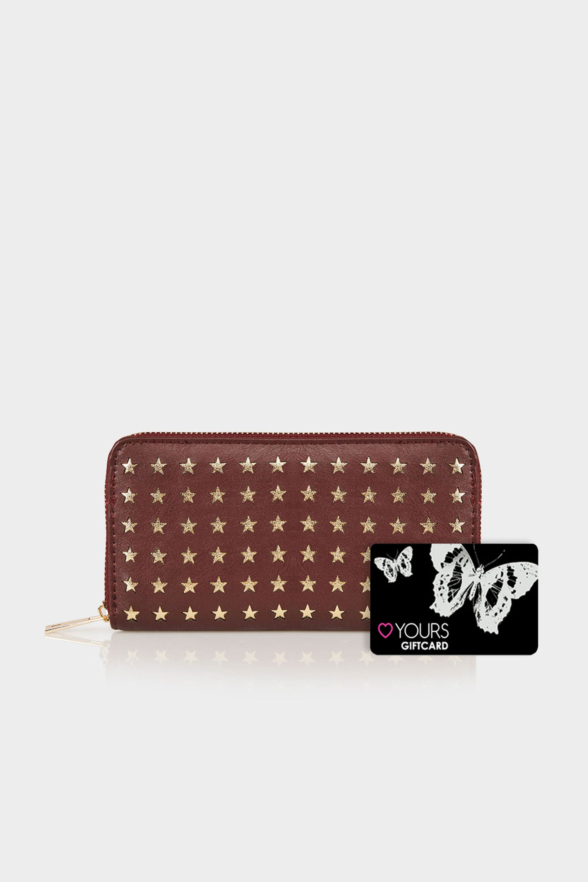 burgundy gold star cut out purse