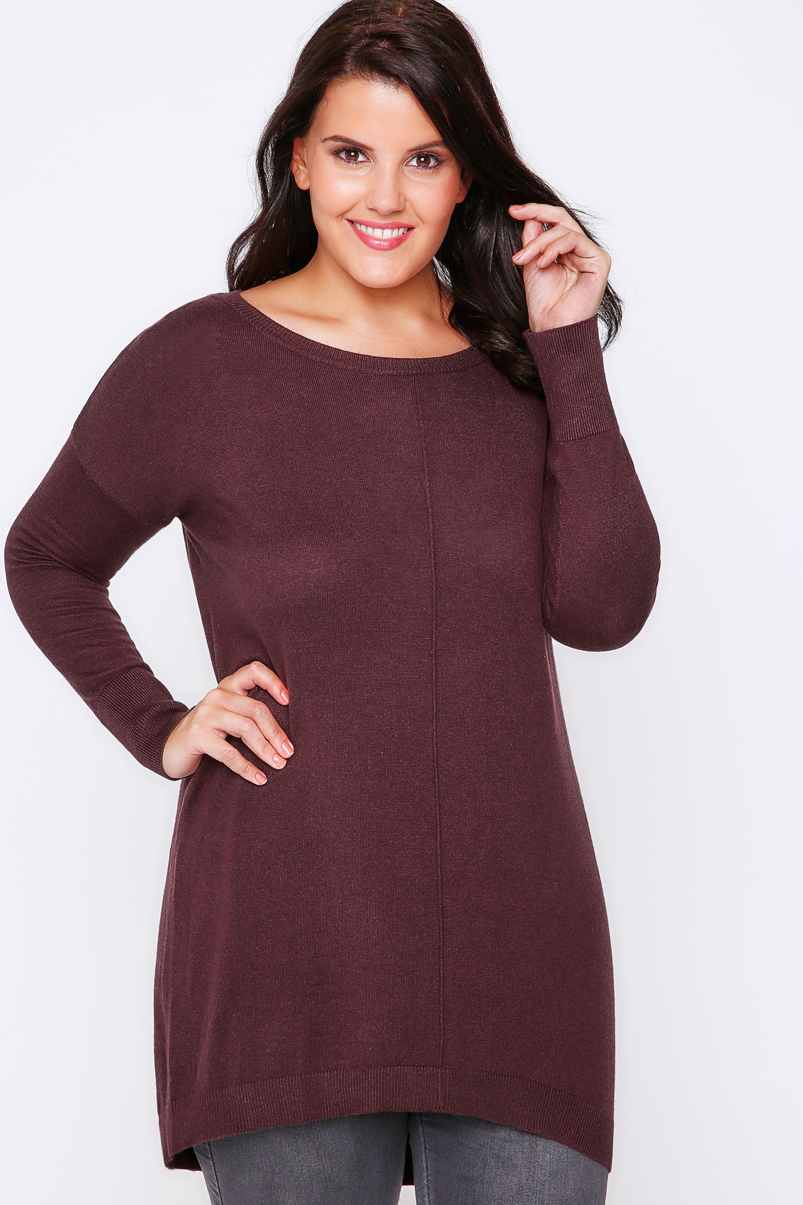 Burgundy Longline Knitted Jumper With Seam Front Detail Plus Size 16 to 32