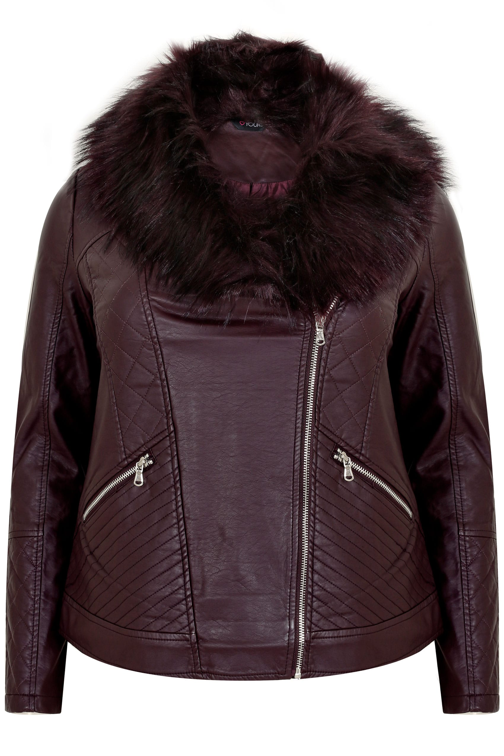 big collection women full range of specifications Burgundy PU Leather Look Biker Jacket With Faux Fur Collar