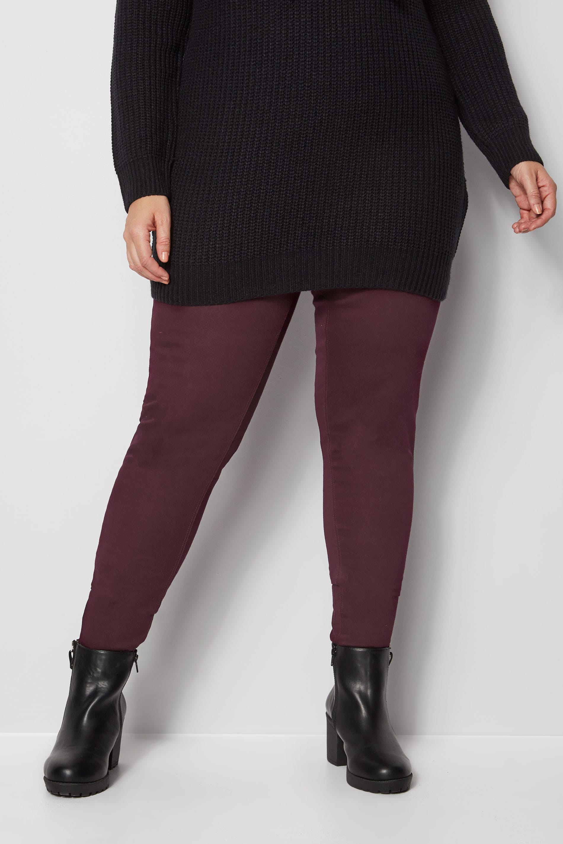 Burgundy Pull On Jenny Jeggings Plus Size 16 To 36