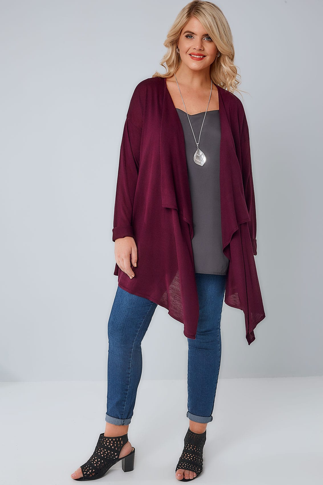 Burgundy Super Fine Knit Edge To Edge Waterfall Cardigan plus size ...