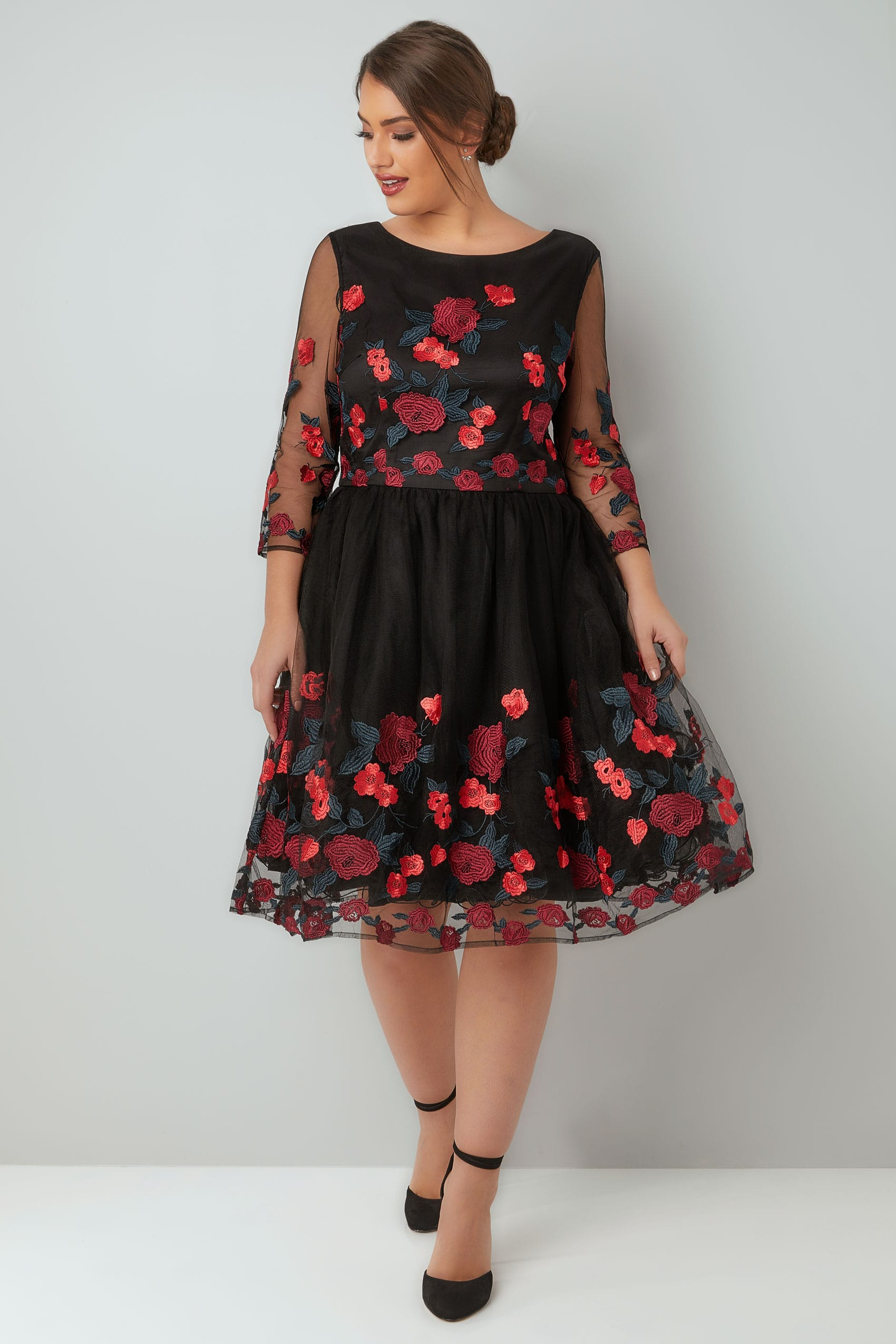 Chi black caitlyn rose embroidered dress with mesh