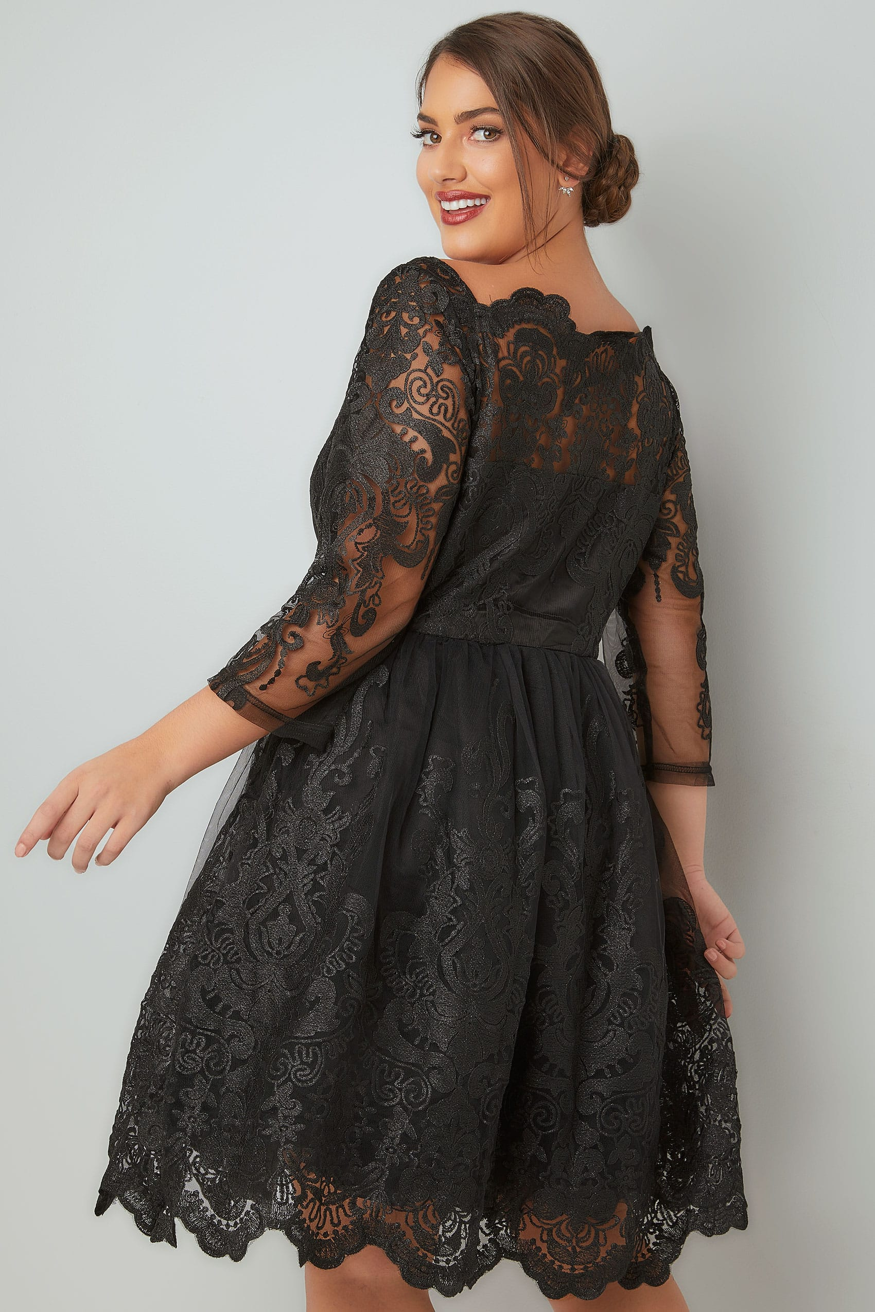 d1608c14b0d7a CHI CHI Black Divya Lace Bardot Prom Dress