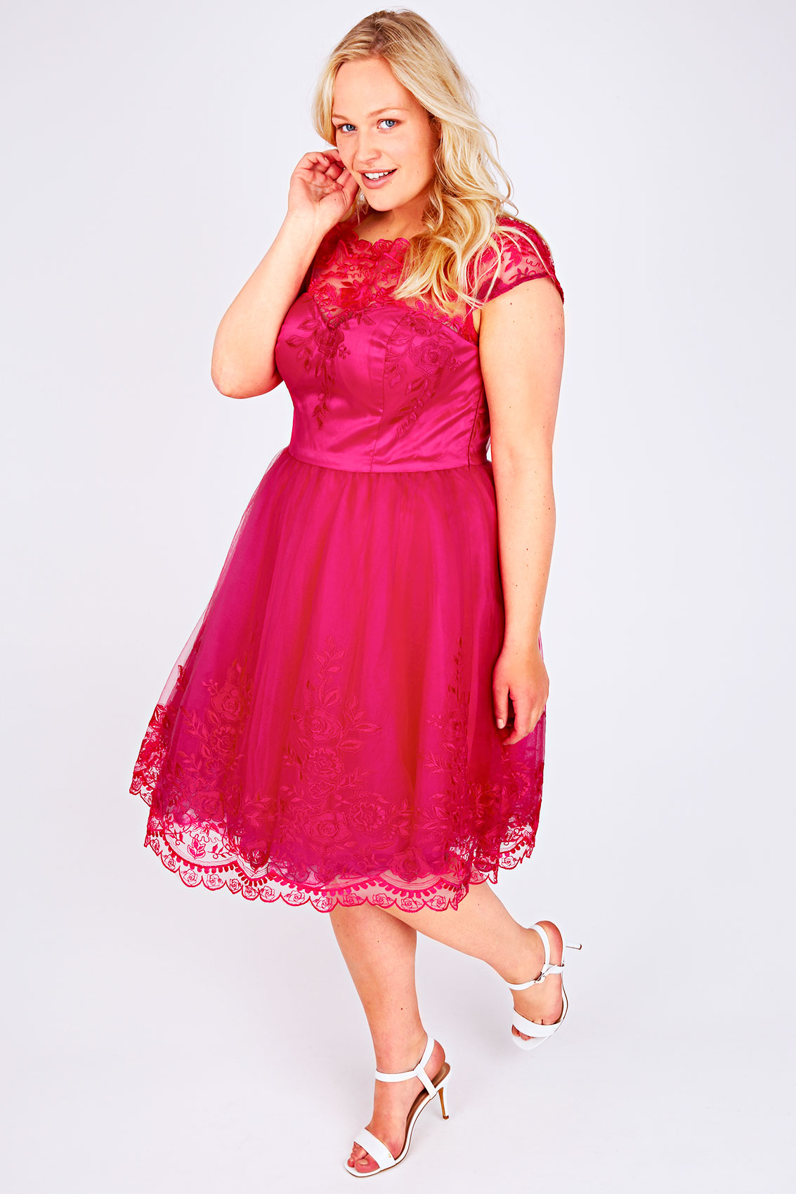 CHI CHI LONDON Hot Pink Sweetheart Embroidered Party Dress ...