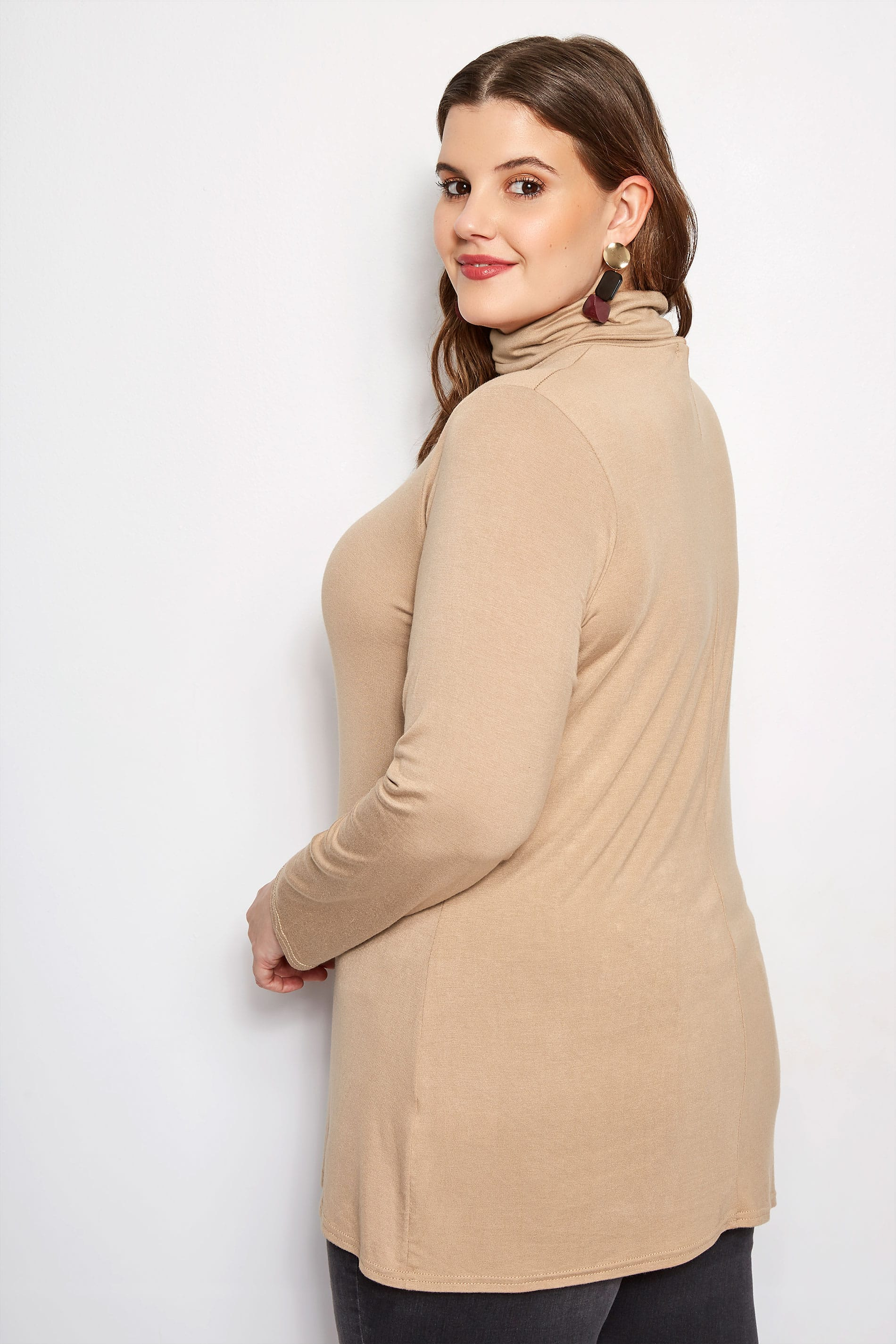 77a0dcb3dfea Plus Size Camel Turtleneck Top | Sizes 16 to 36 | Yours Clothing