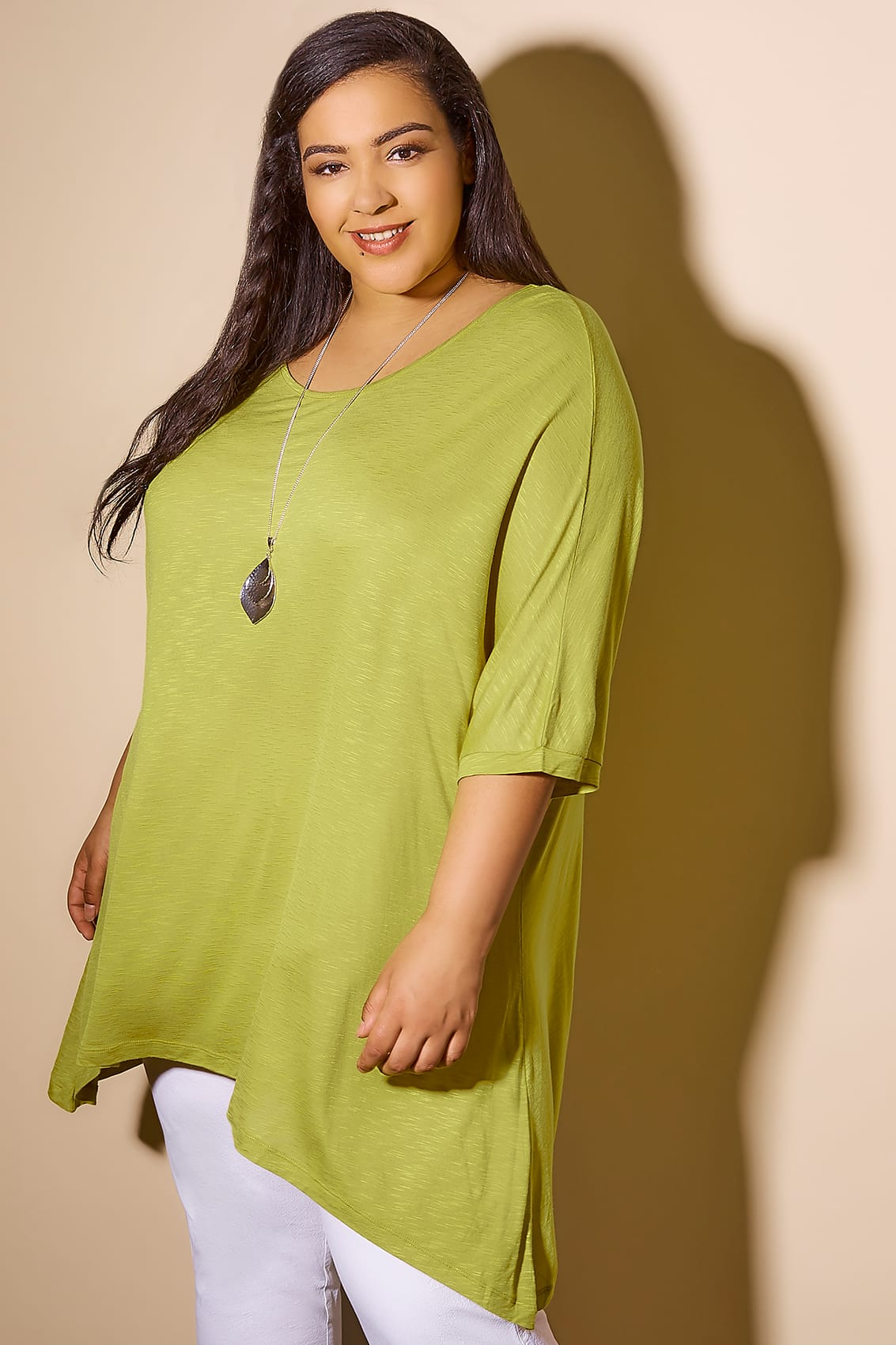 Chartreuse Green Oversized Soft Textured Jersey Top