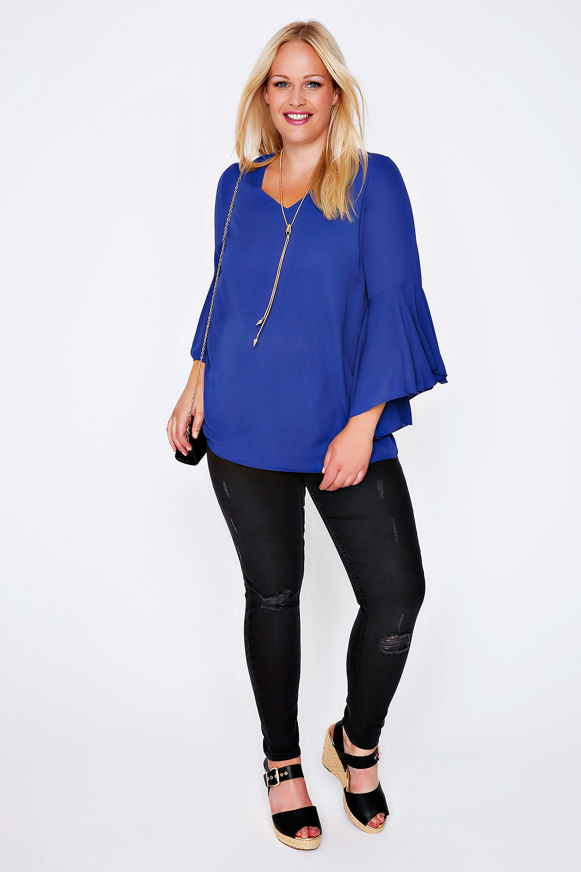 Cobalt Blue Blouse With Bell Sleeves Plus Size 16 to 32