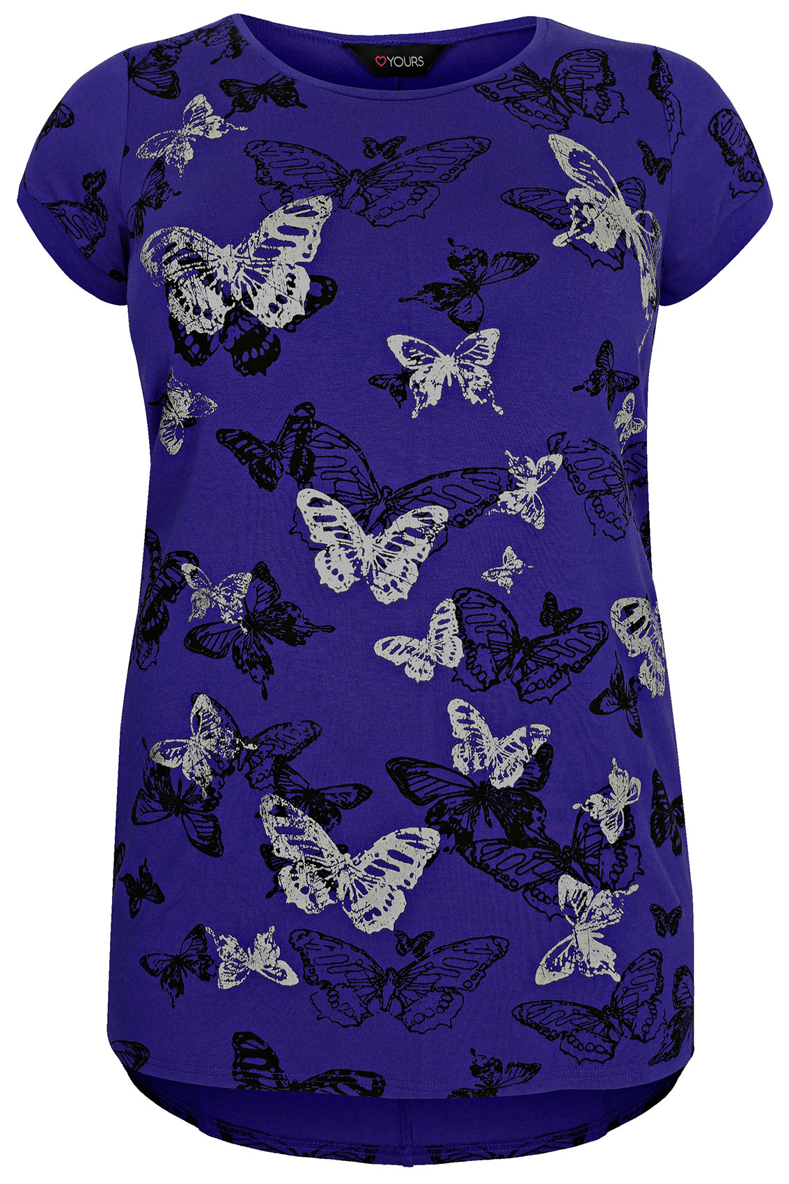 Cobalt blue butterfly print t shirt with foil detail plus for T shirt print dimensions