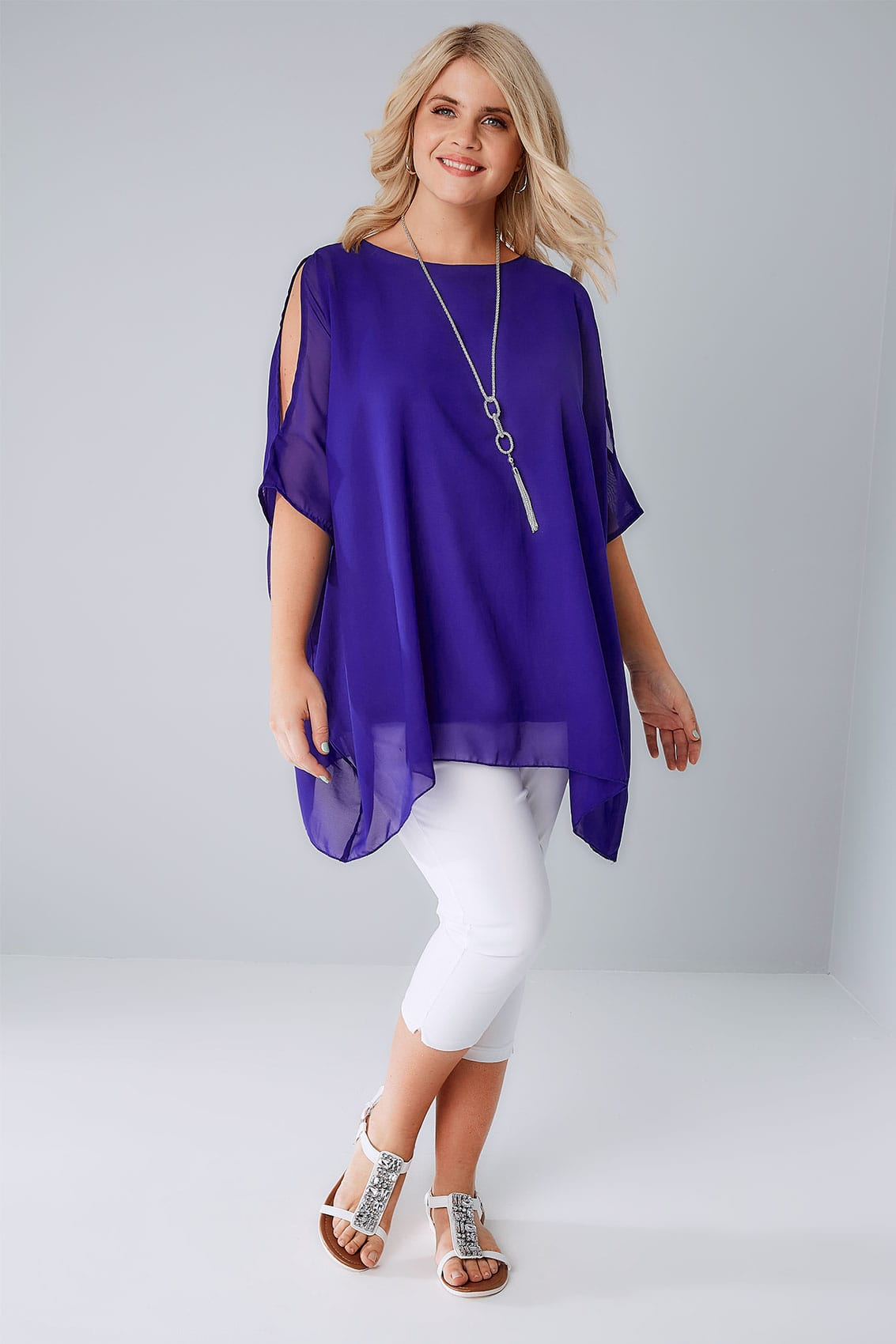 Cobalt Blue Cold Shoulder Chiffon Top With Batwing Sleeves and ...